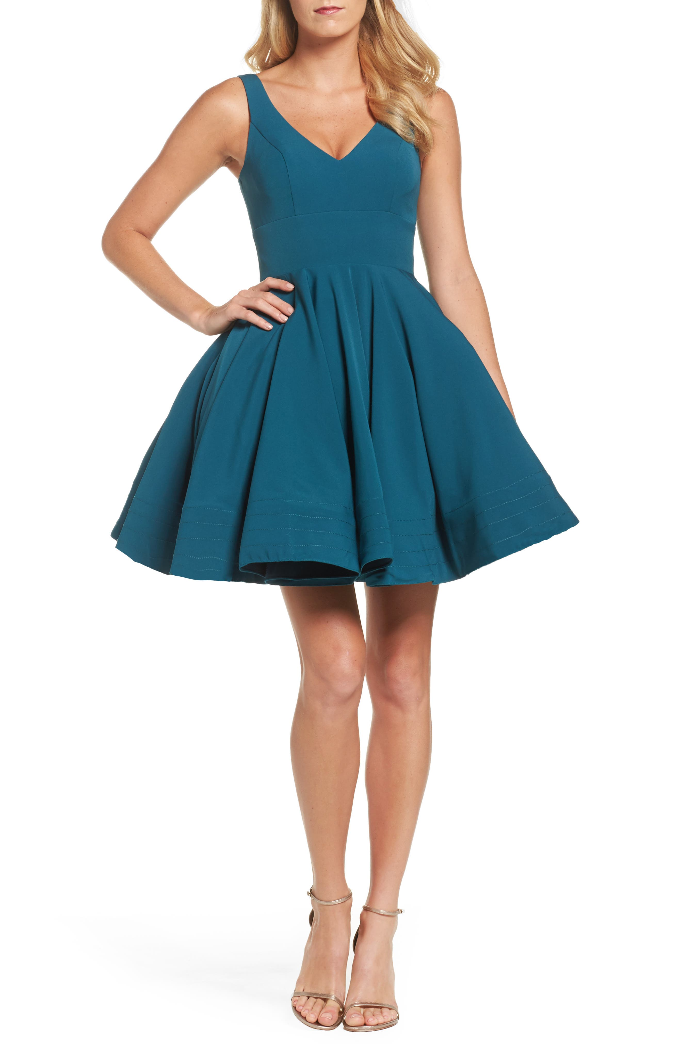 Ieena For MAC Duggal Double V-Neck Fit & Flare Party Dress, Green
