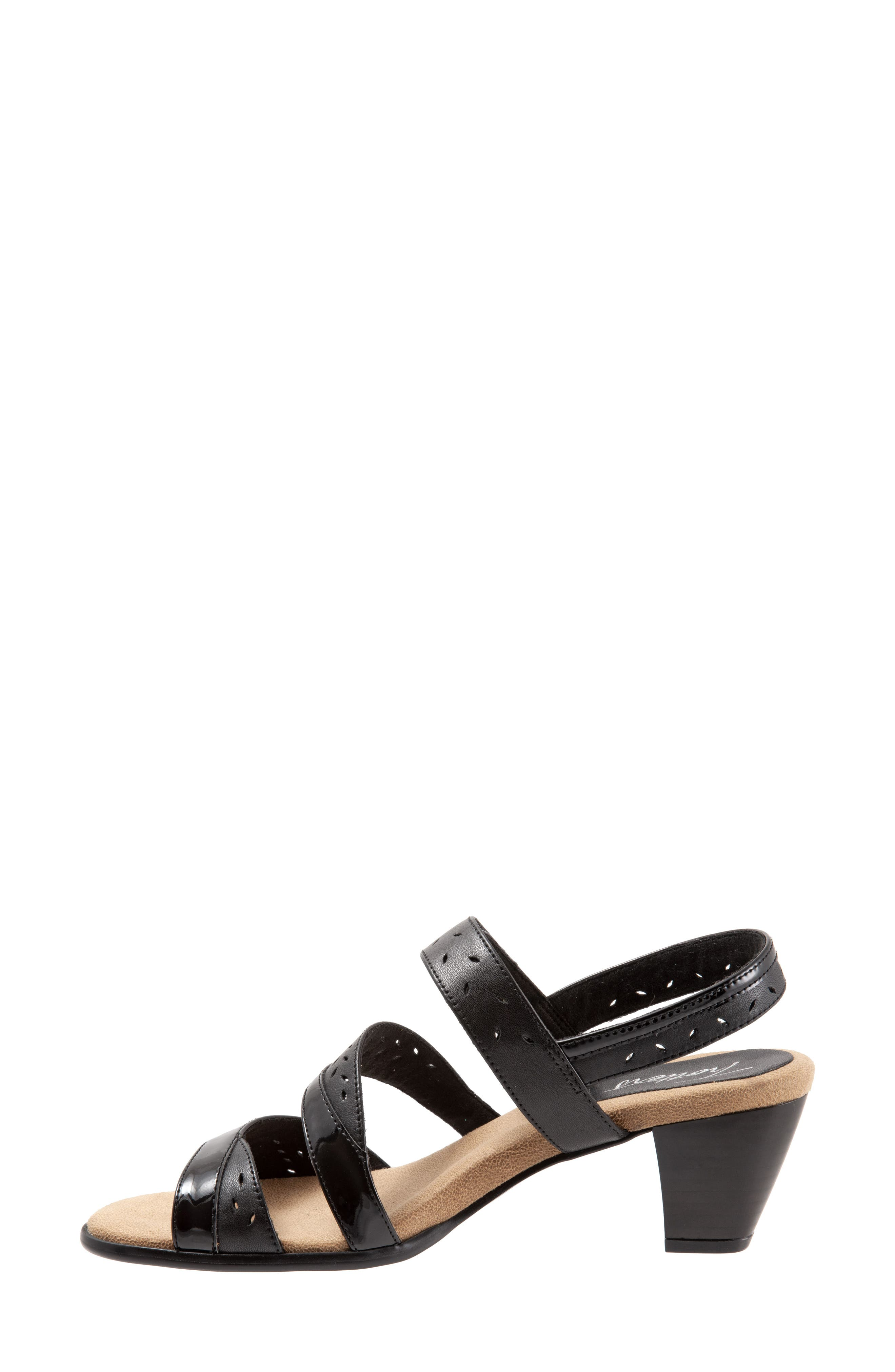 TROTTERS, Marvie Perforated Strappy Sandal, Alternate thumbnail 8, color, BLACK LEATHER