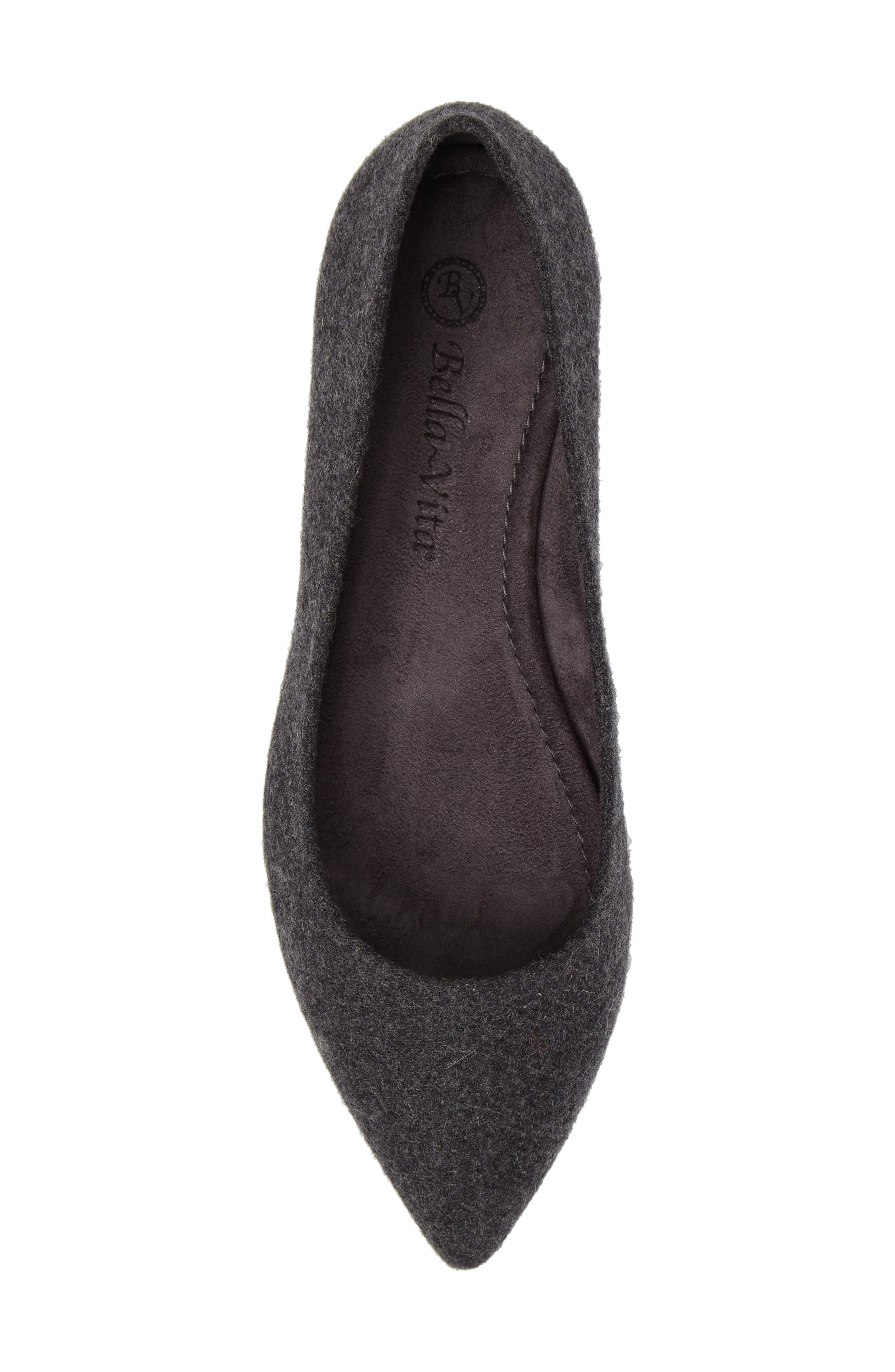 BELLA VITA, 'Vivien' Pointy Toe Flat, Alternate thumbnail 5, color, GREY FLANNEL FABRIC