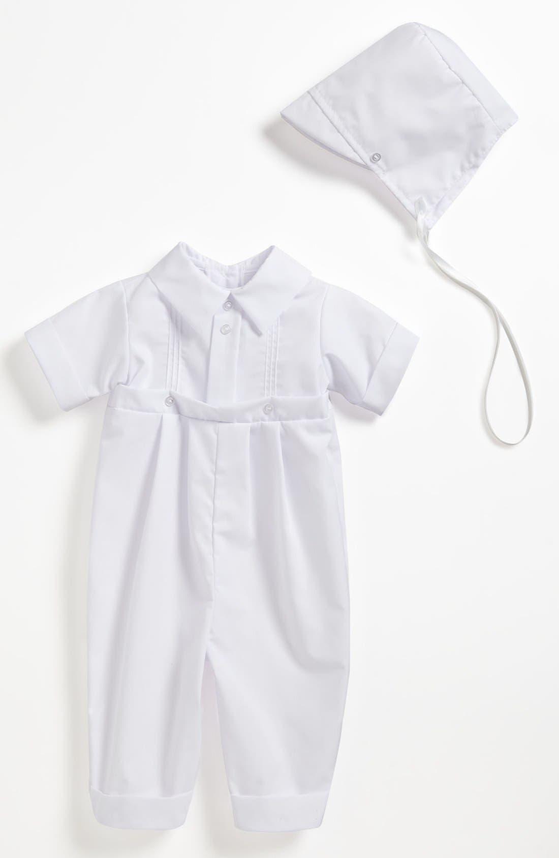 LITTLE THINGS MEAN A LOT Romper & Hat, Main, color, WHITE