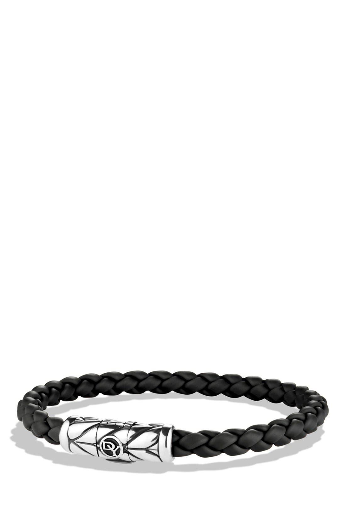 DAVID YURMAN, 'Chevron' Woven Rubber Bracelet, Main thumbnail 1, color, BLACK