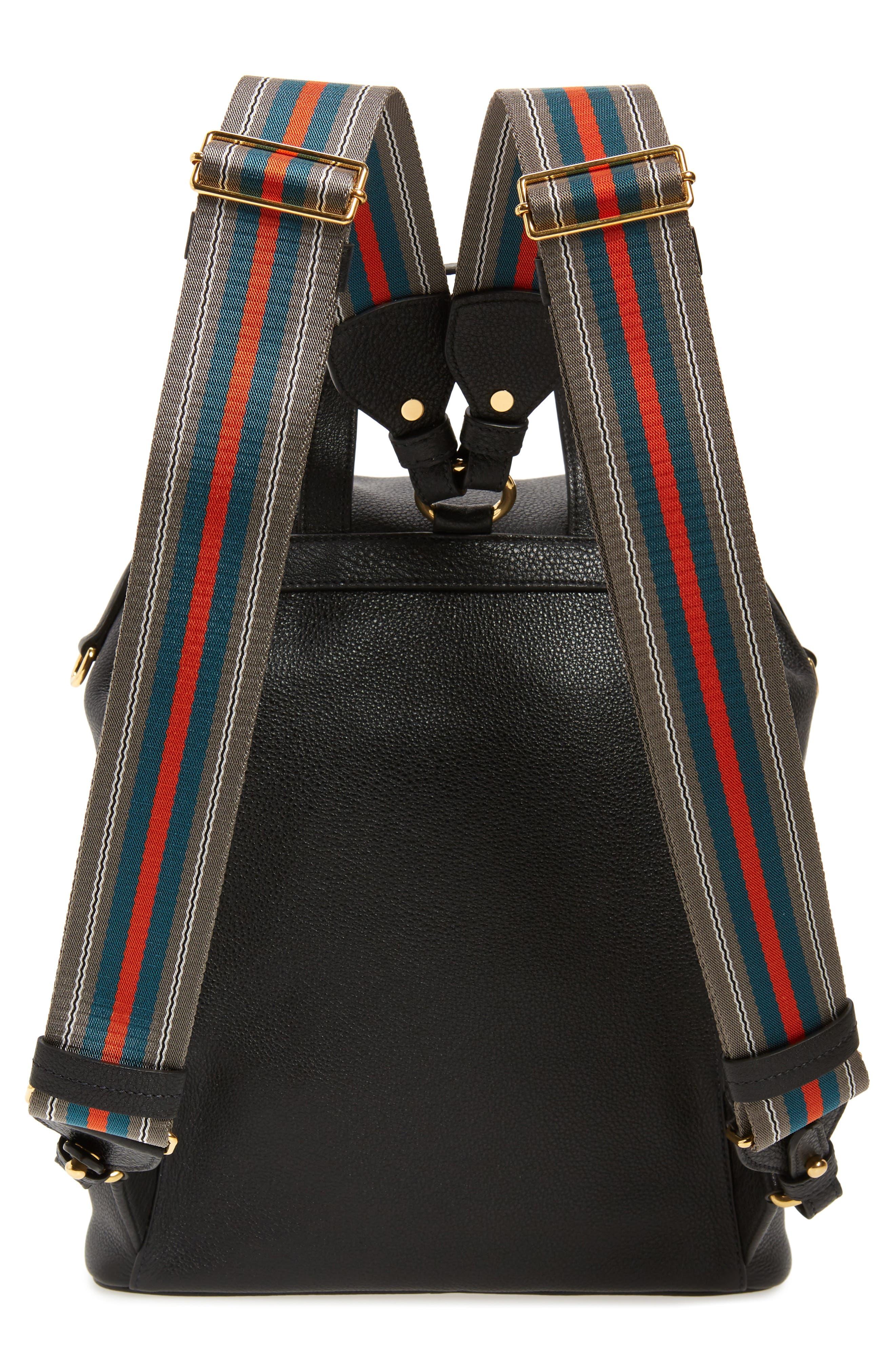 PRADA, Vitello Daino Pebbled Leather Backpack, Alternate thumbnail 4, color, 001
