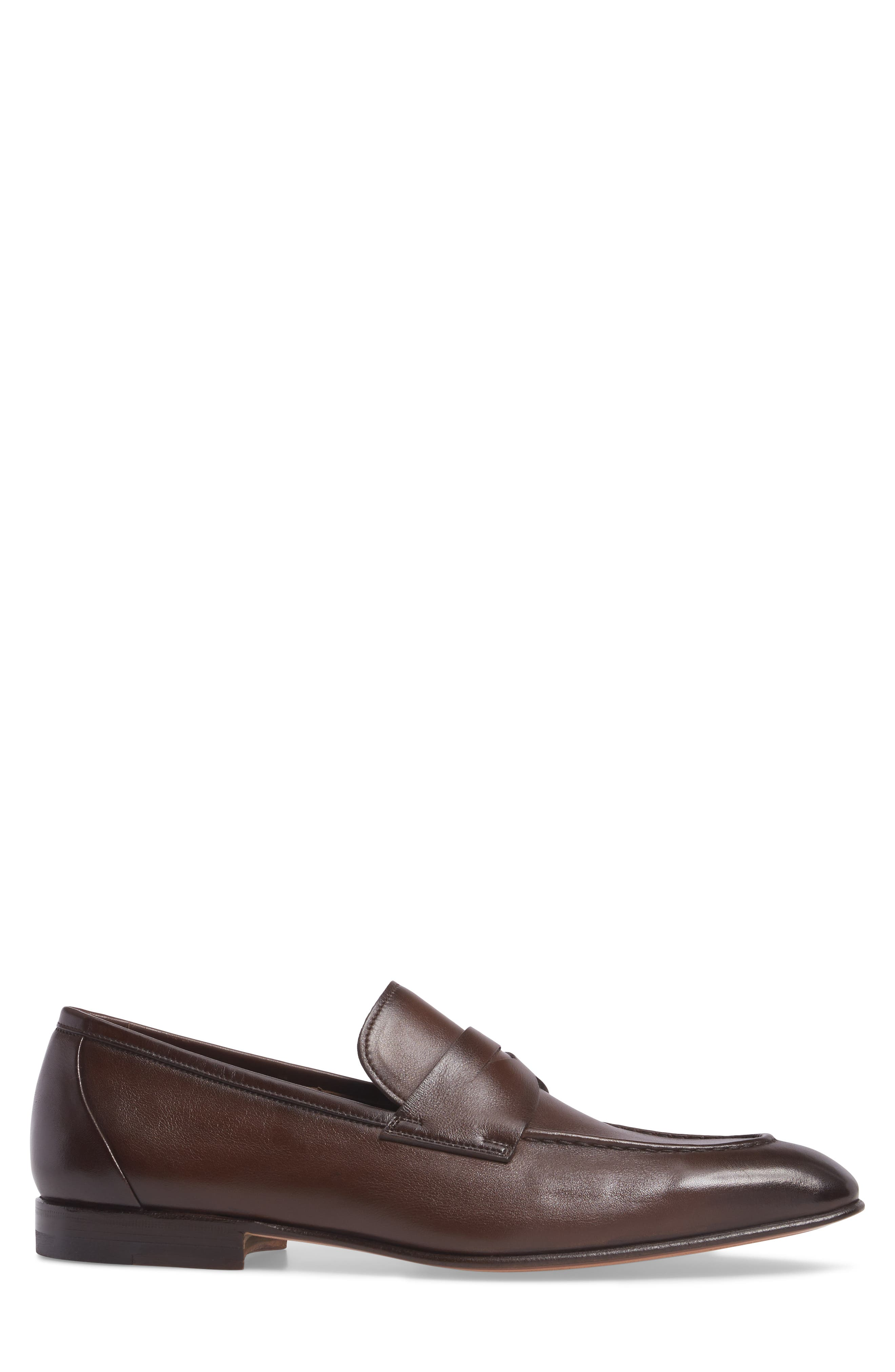 SANTONI, Gannon Penny Loafer, Alternate thumbnail 3, color, BROWN