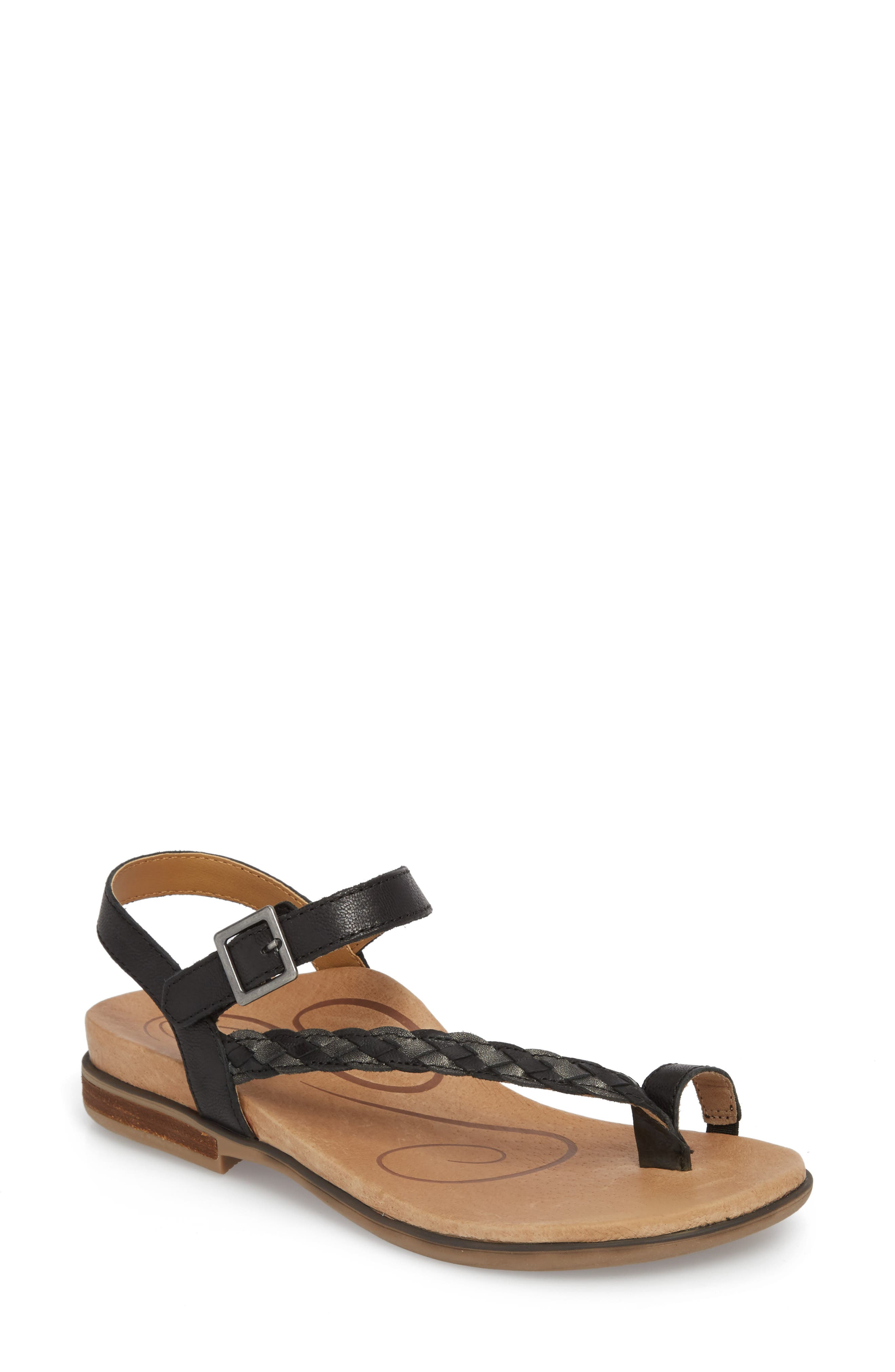 AETREX, Evie Braided Strap Sandal, Main thumbnail 1, color, BLACK LEATHER