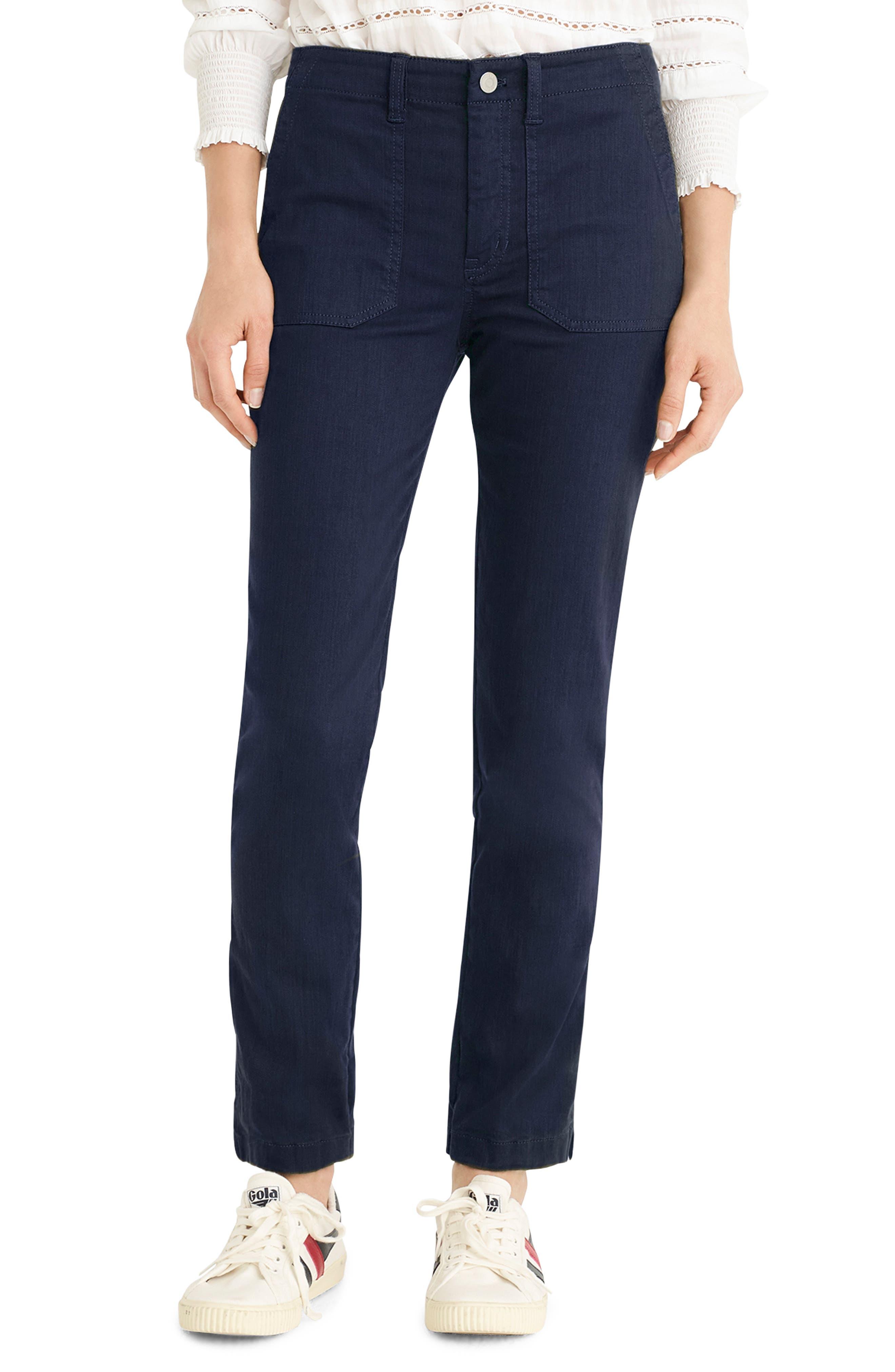Petite J.crew Slub Sateen Straight Leg Cargo Pants, Blue