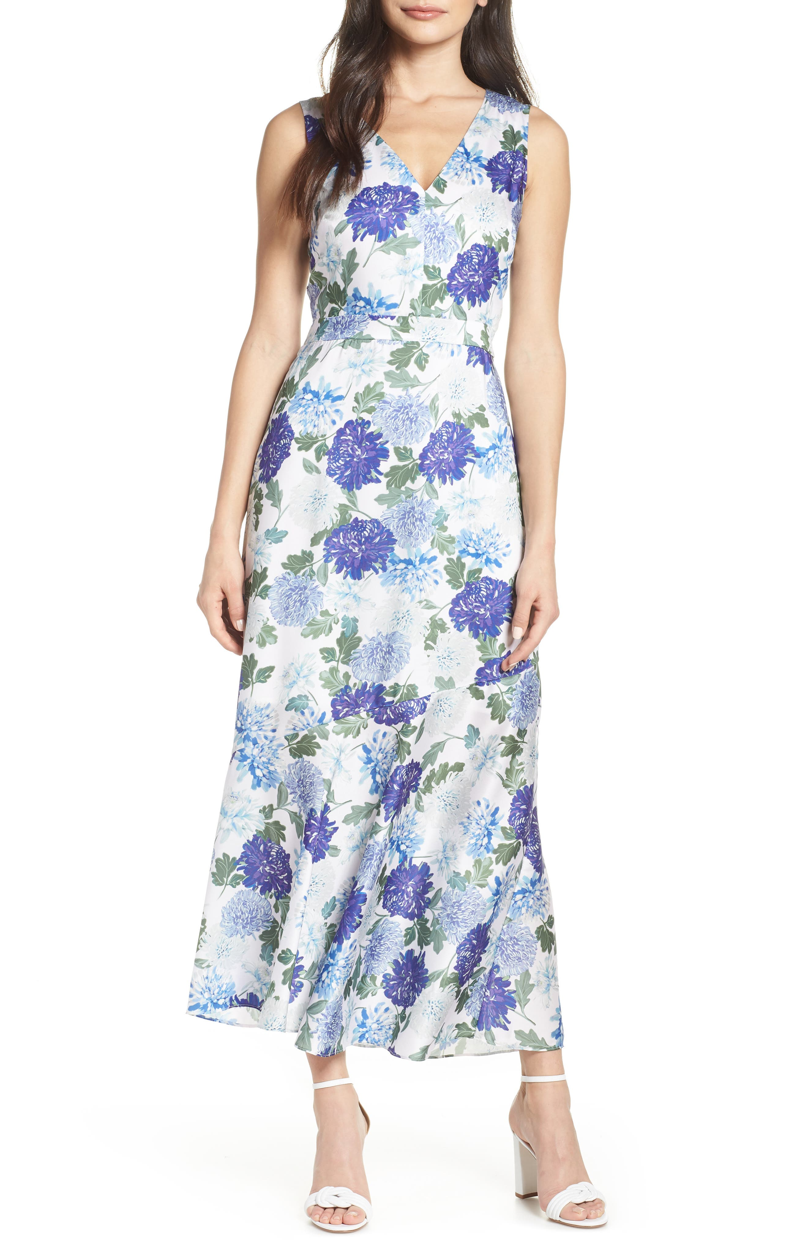 SAM EDELMAN, Vintage Floral Midi Dress, Main thumbnail 1, color, PURPLE MULTI