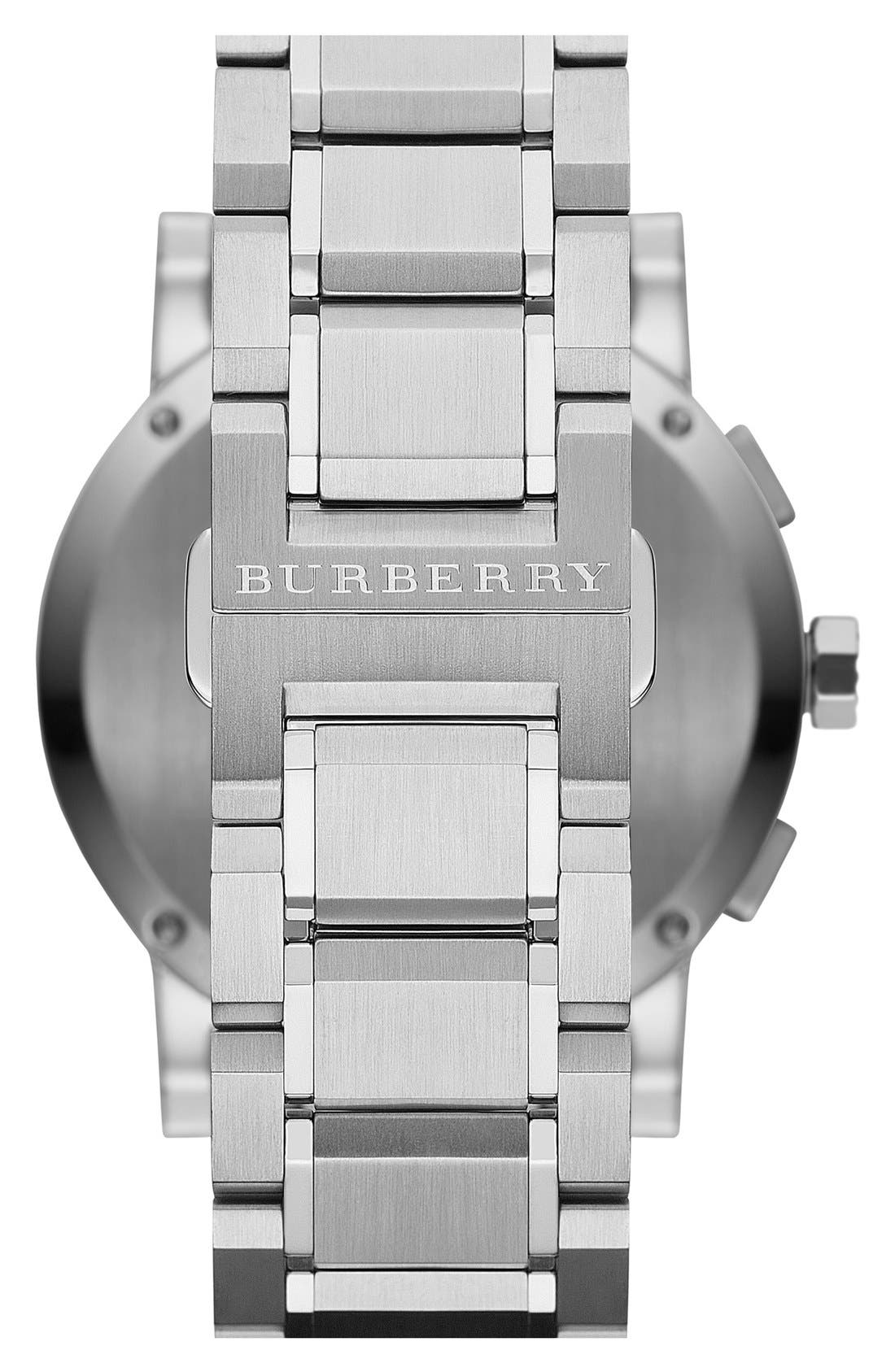 BURBERRY, Check Stamped Chronograph Bracelet Watch, 44mm, Alternate thumbnail 3, color, 040