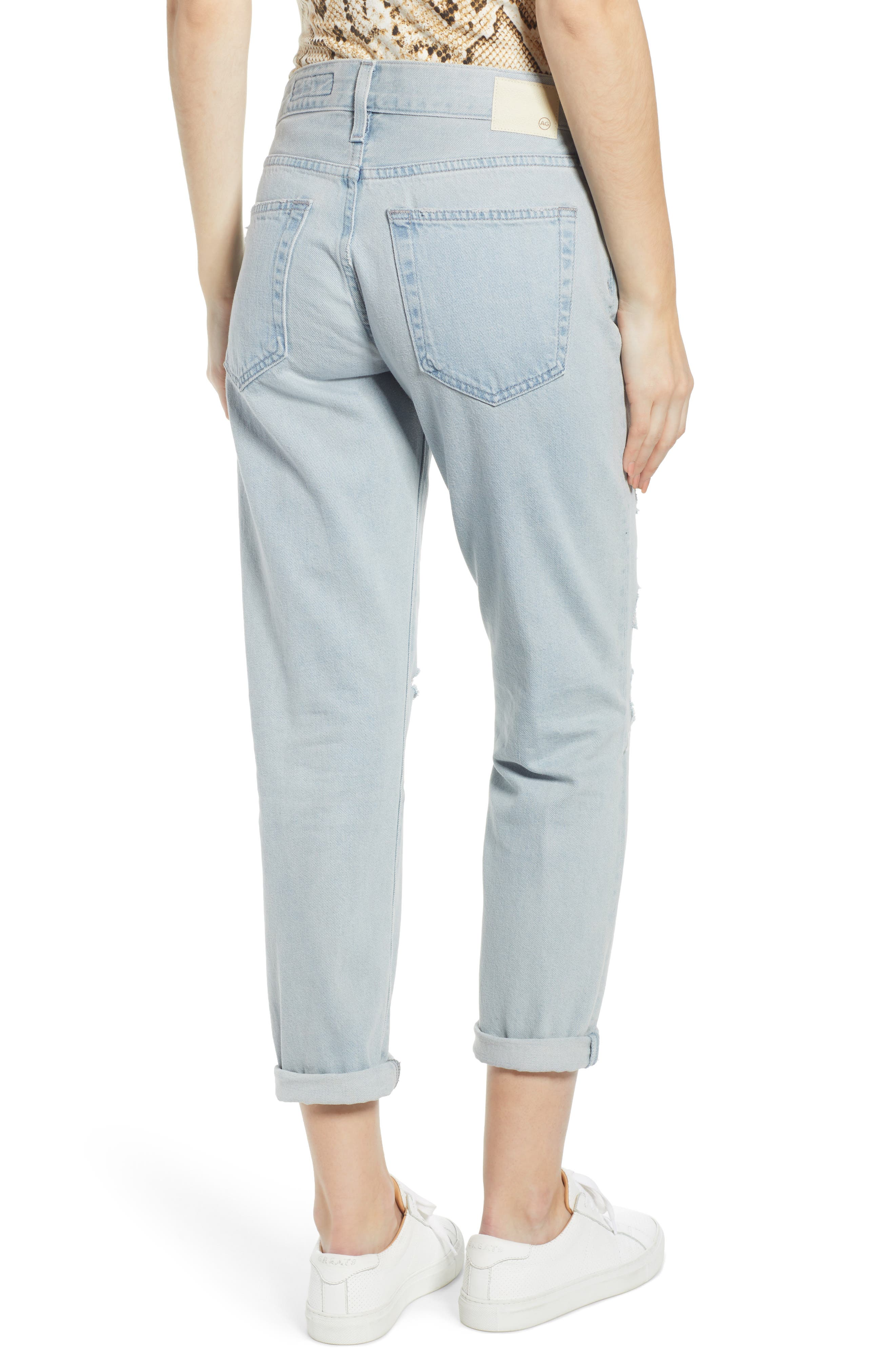 AG, Ex-Boyfriend Ripped Slouchy Ankle Slim Jeans, Alternate thumbnail 2, color, 25 YEARS DEEP DUST