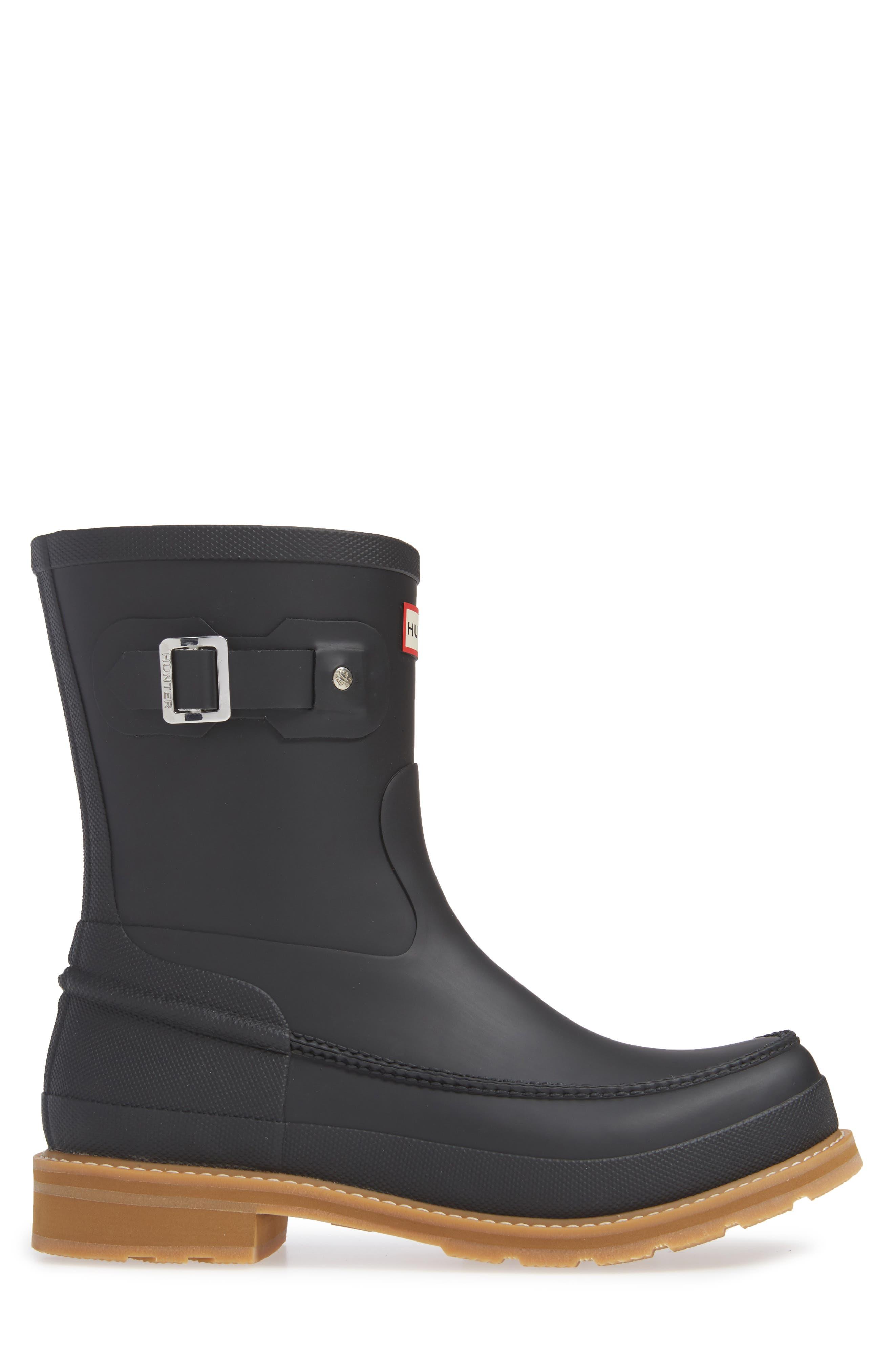 HUNTER, Waterproof Lightweight Short Boot, Alternate thumbnail 3, color, BLACK