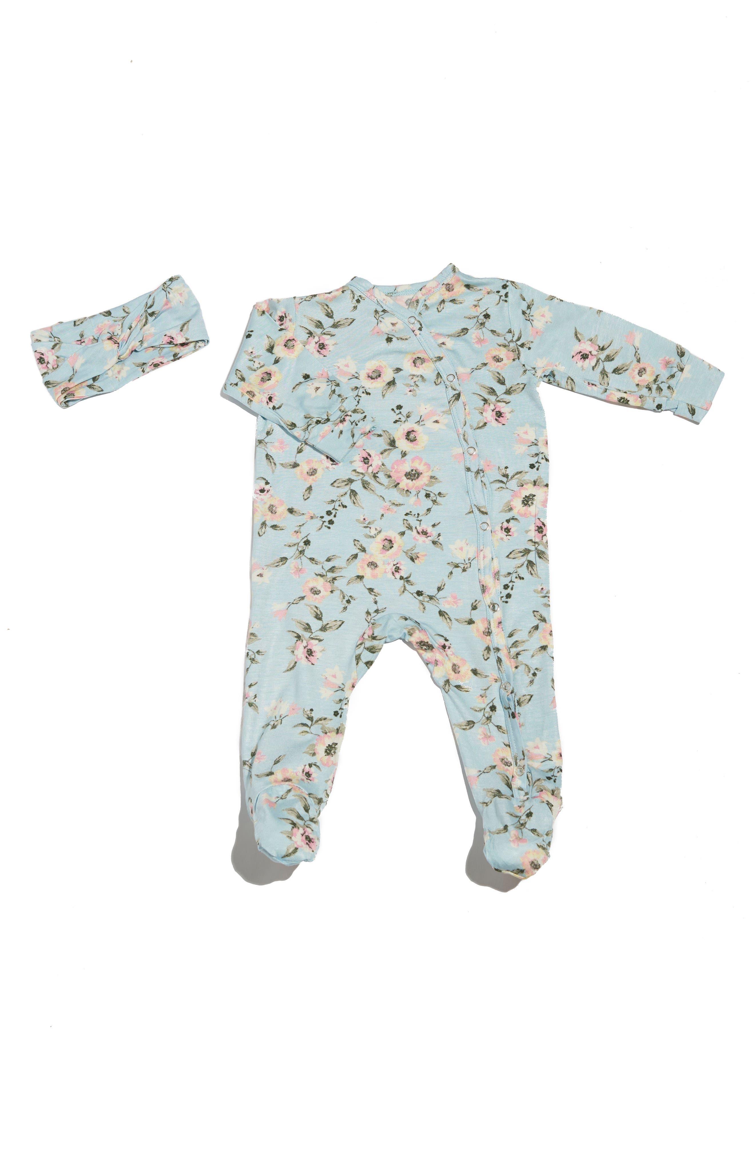 BABY GREY Footie & Head Wrap Set, Main, color, CLOUD BLUE