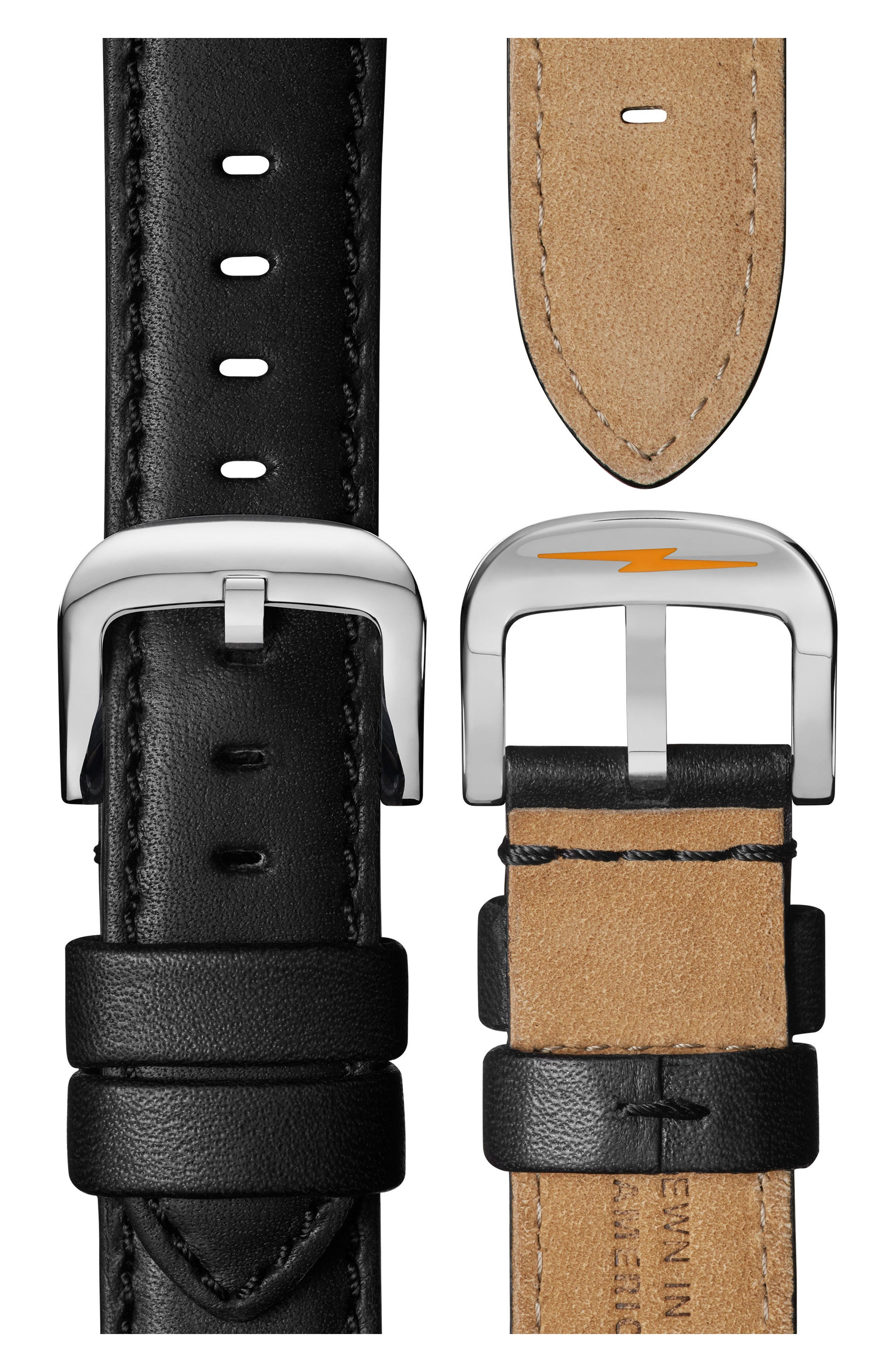 SHINOLA, The Canfield Chrono Leather Strap Watch, 45mm, Alternate thumbnail 4, color, BLACK/ SILVER