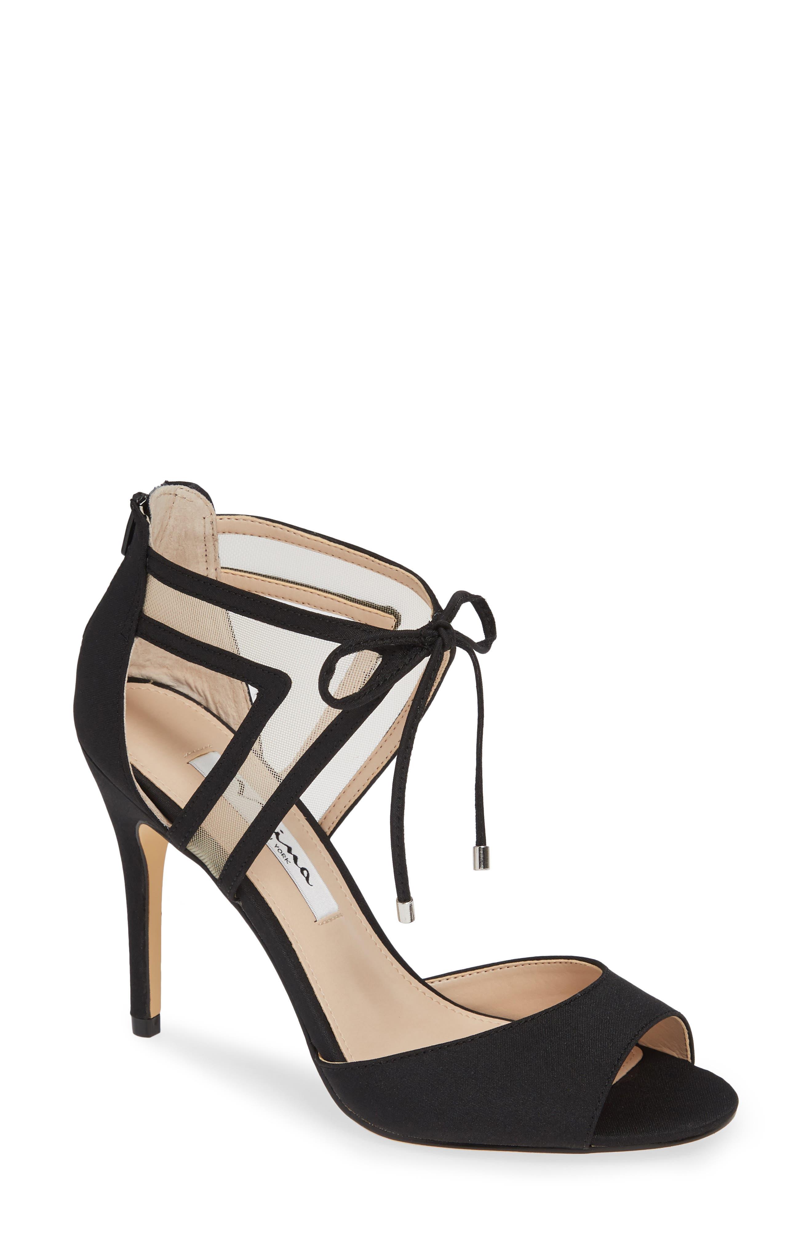 NINA, Caleya Ankle Tie Sandal, Main thumbnail 1, color, BLACK CHAMPAGNE