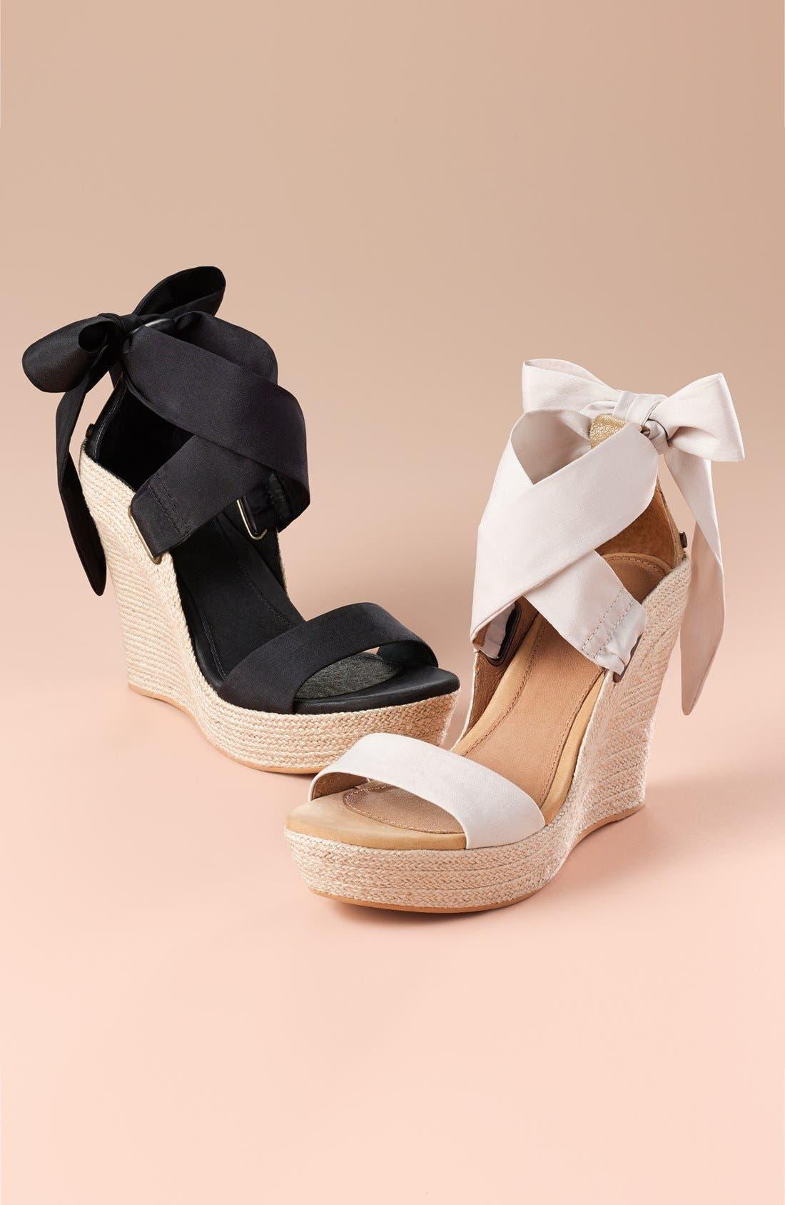 UGG<SUP>®</SUP>, 'Jules' Platform Wedge Sandal, Alternate thumbnail 6, color, 001