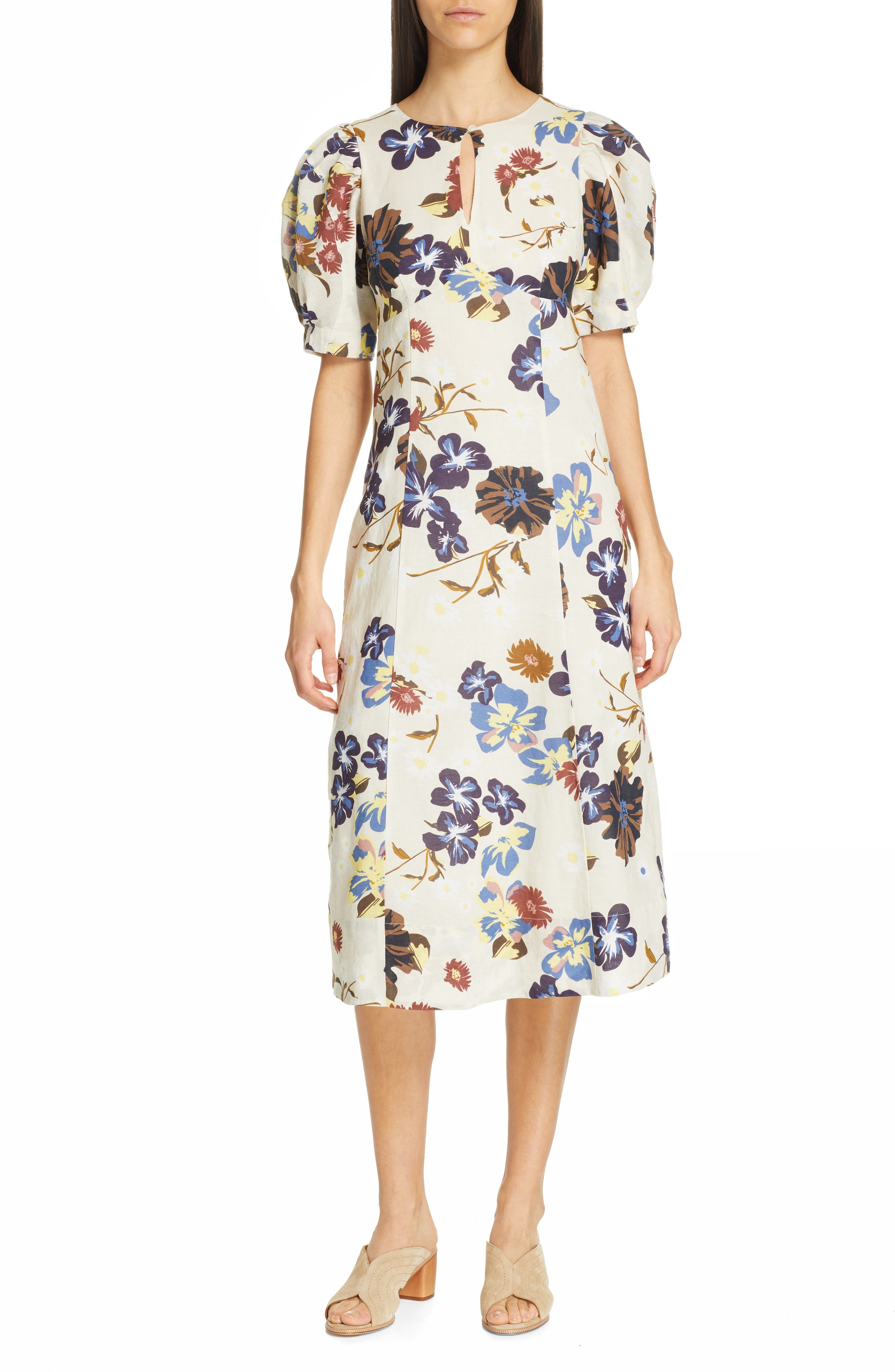 Sea Margherite Floral Print Midi Dress, Ivory