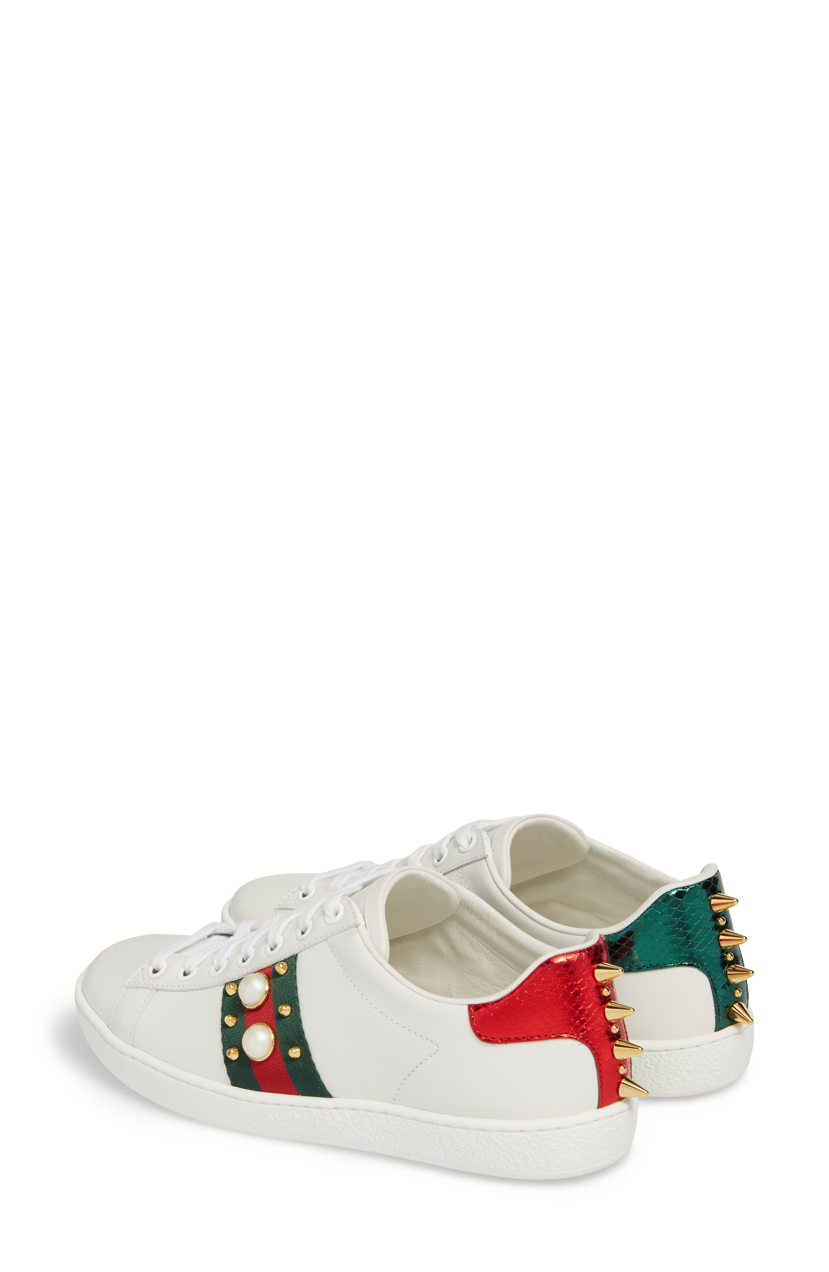 GUCCI, New Ace Low Top Sneaker, Alternate thumbnail 2, color, WHITE/ RED