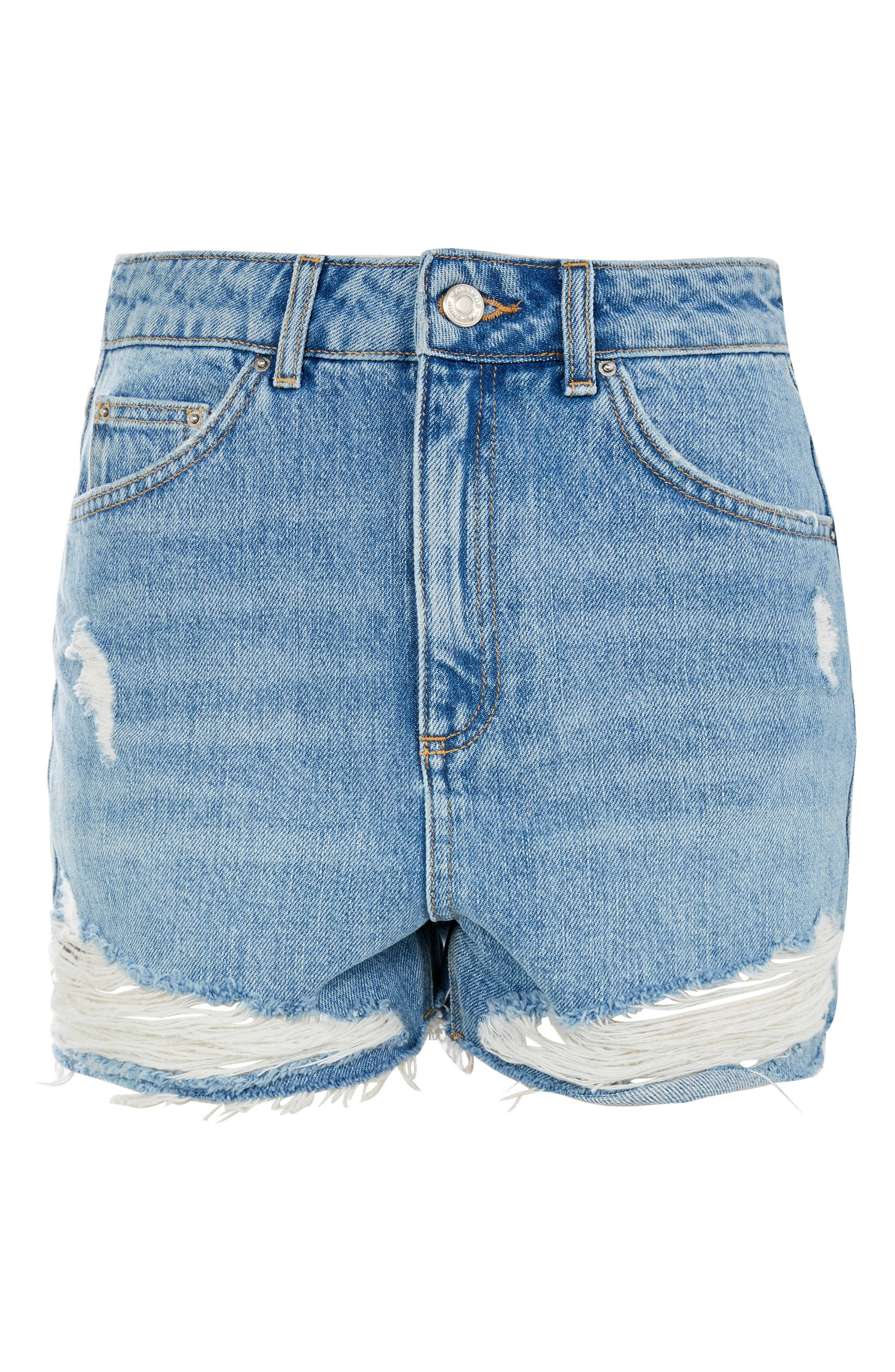 TOPSHOP, Ripped Denim Mom Shorts, Alternate thumbnail 4, color, 400