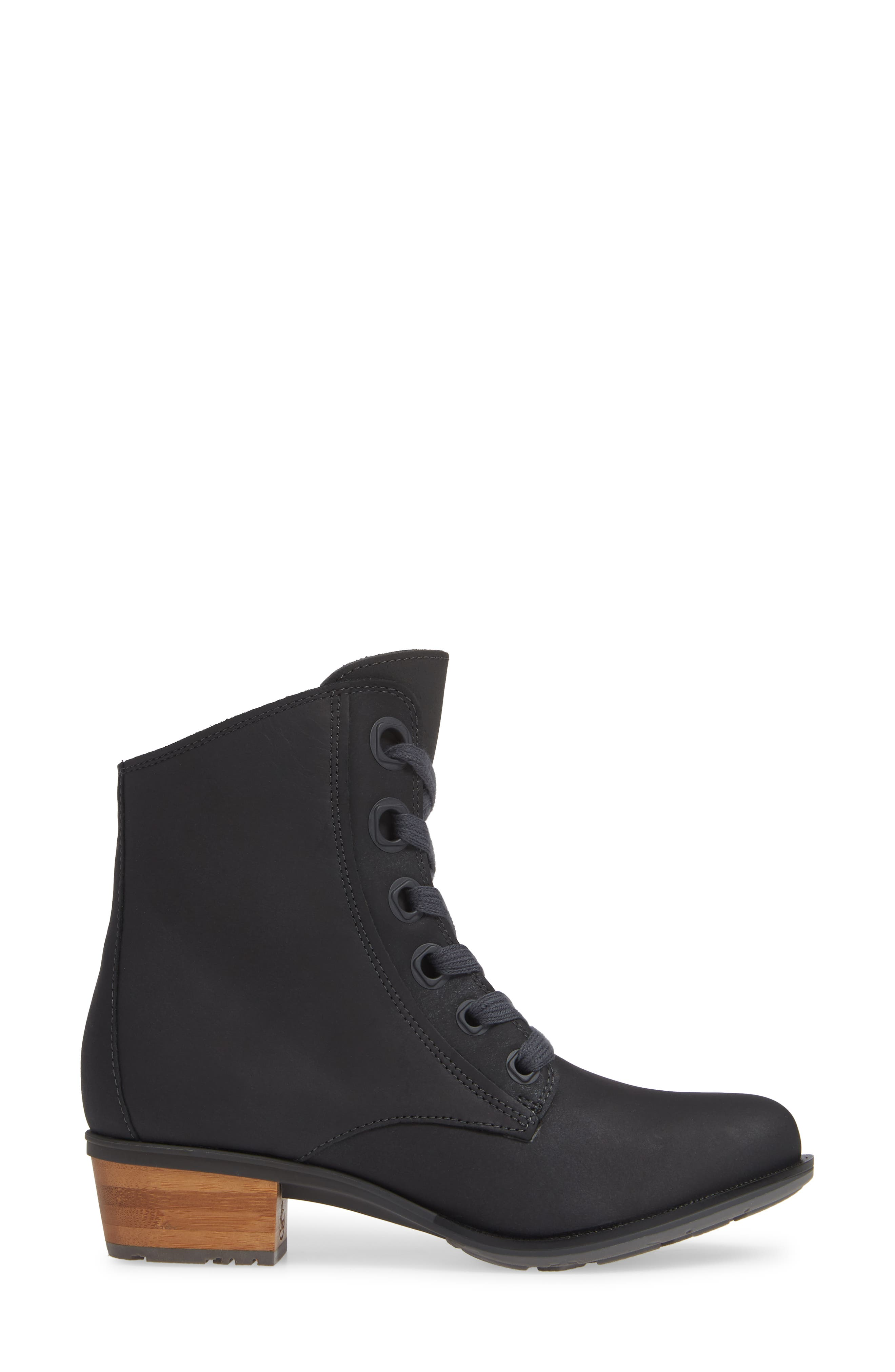 CHACO, Cataluna Waterproof Lace-Up Boot, Alternate thumbnail 3, color, BLACK LEATHER