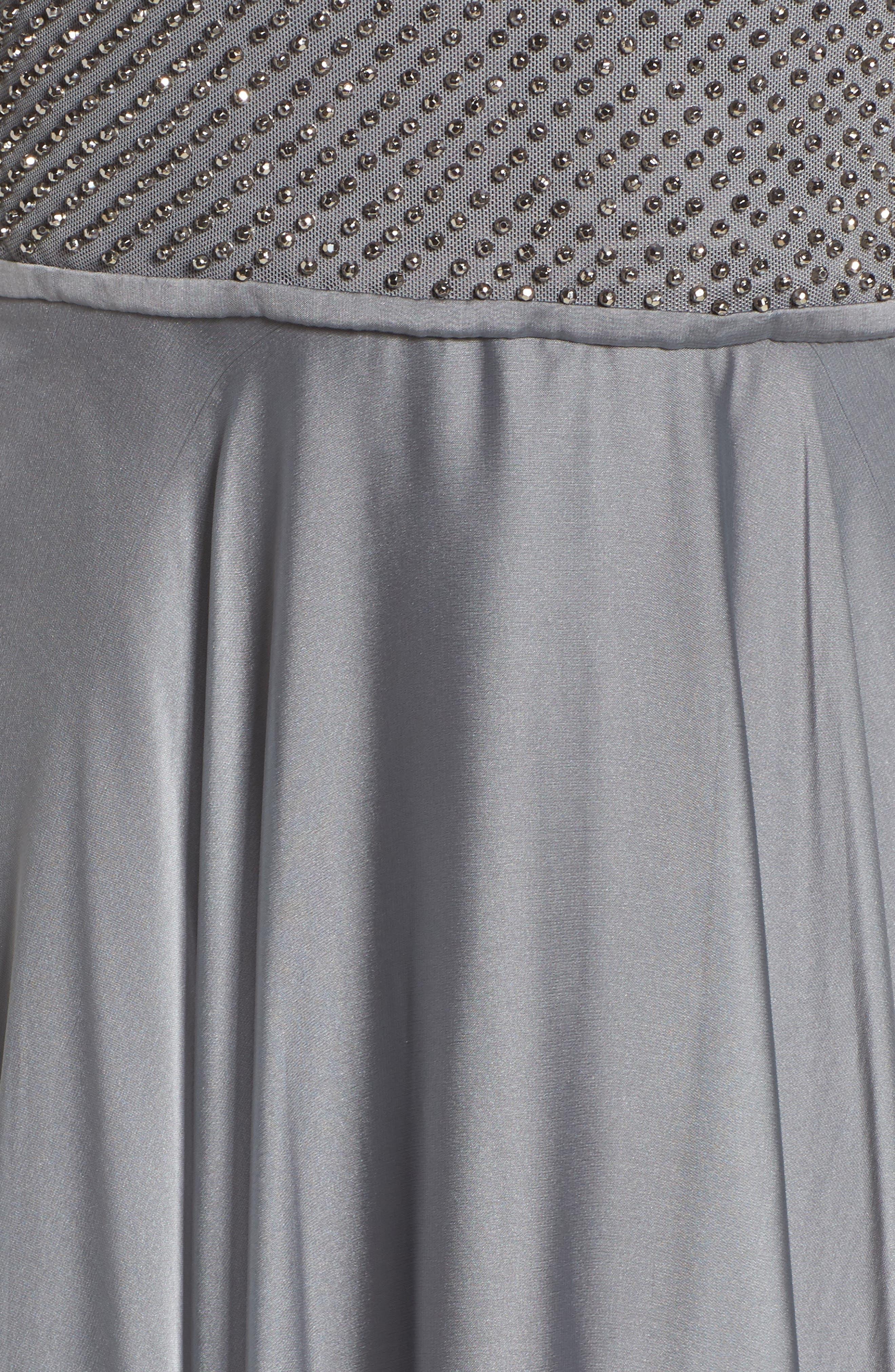 LA FEMME, Embellished Bodice Gown, Alternate thumbnail 5, color, PLATINUM