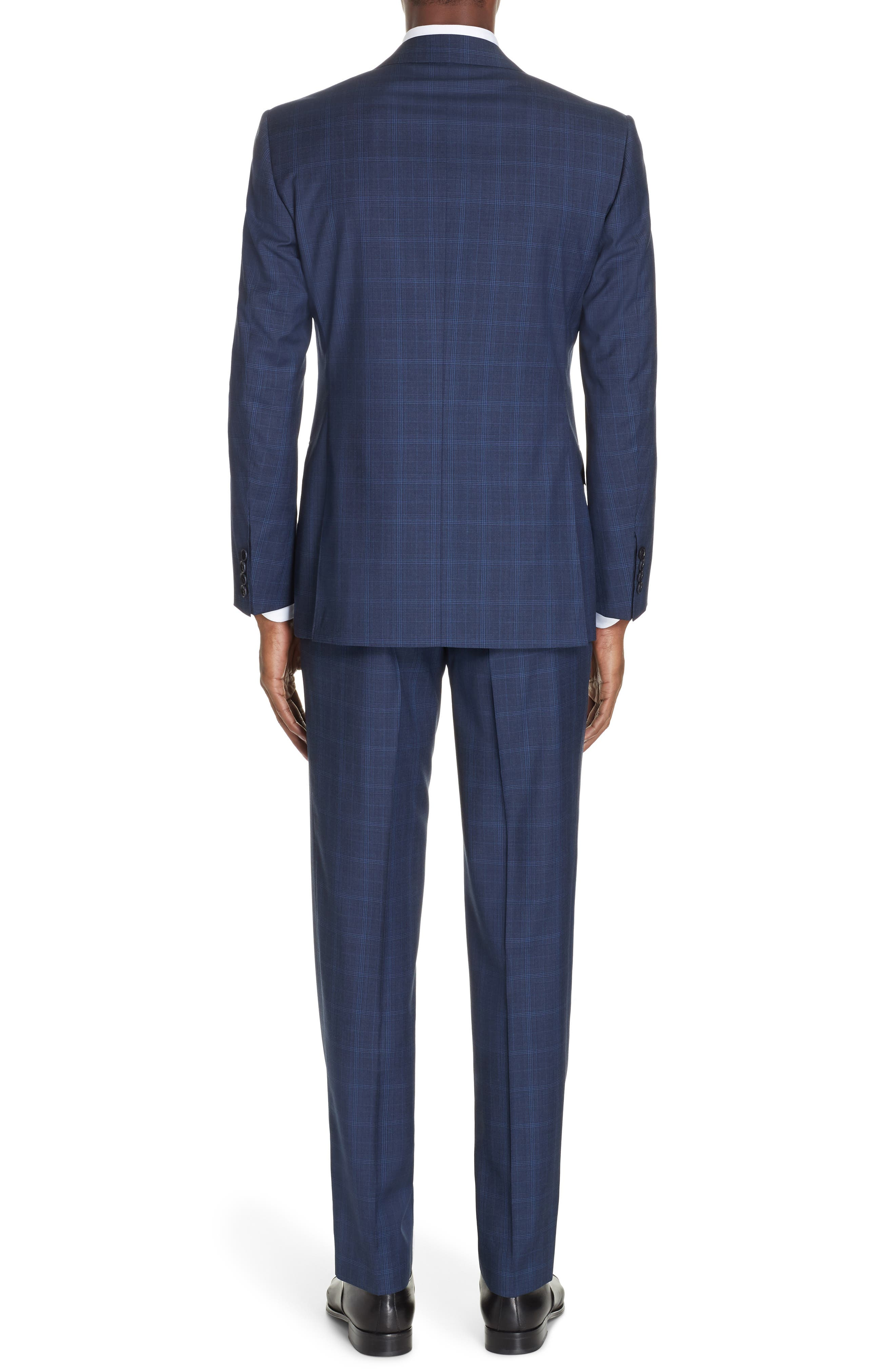 CANALI, Sienna Classic Fit Plaid Wool Suit, Alternate thumbnail 2, color, NAVY