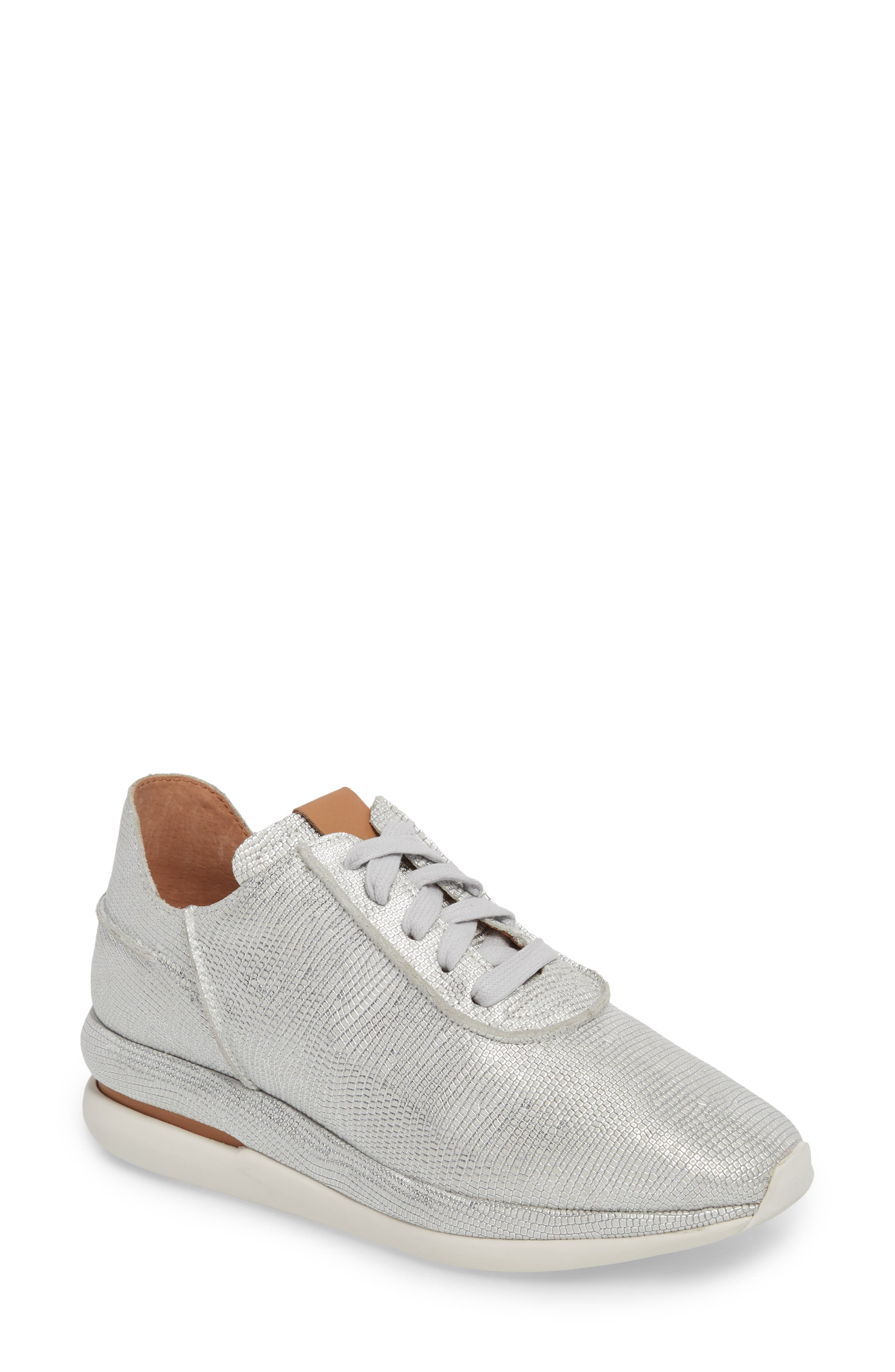 GENTLE SOULS BY KENNETH COLE, Raina Sneaker, Main thumbnail 1, color, WHITE/ SILVER LEATHER