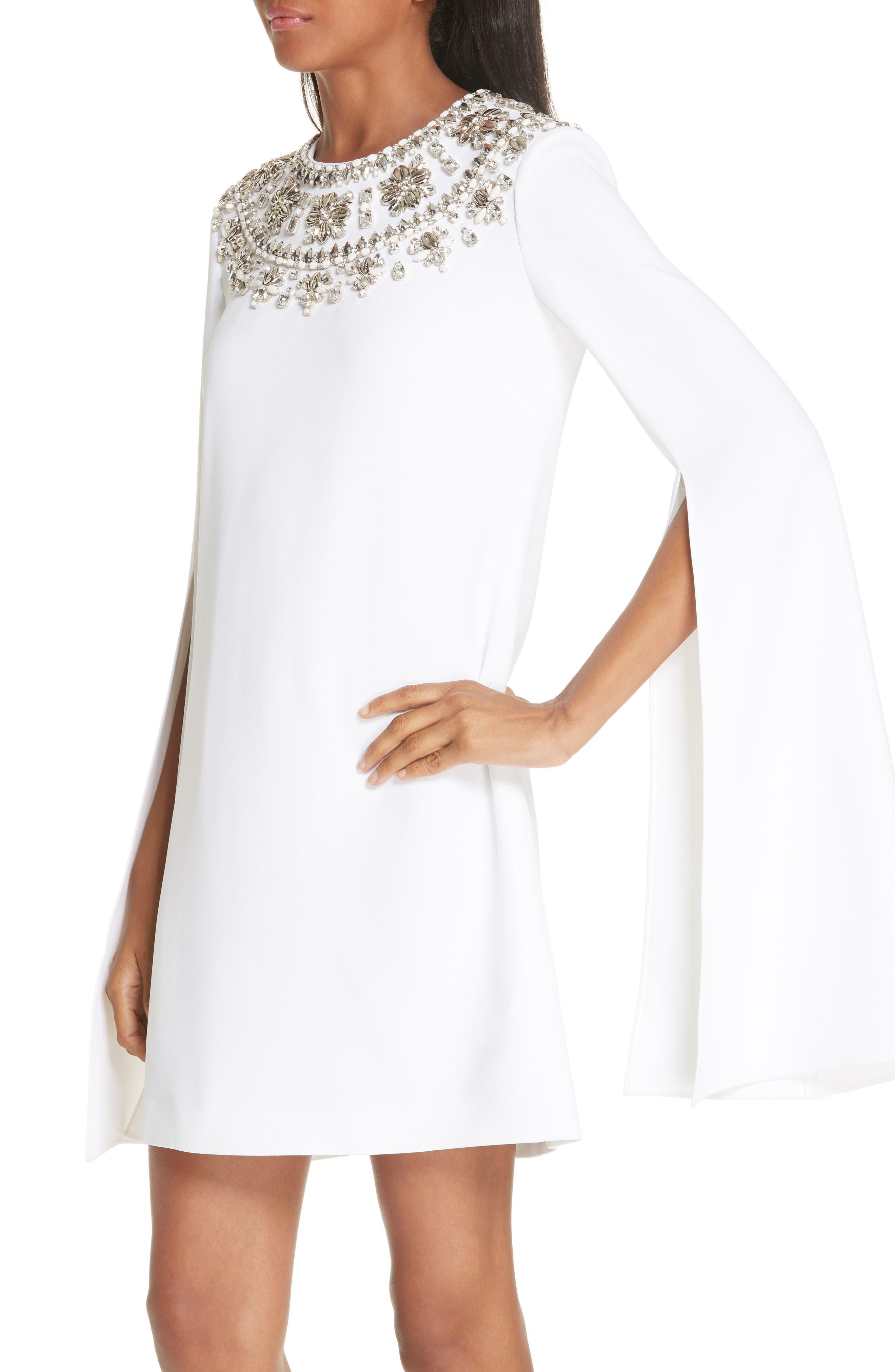 MICHAEL KORS, Crystal Embellished Split Sleeve Double Crepe Sable Dress, Alternate thumbnail 5, color, OPTIC WHITE W/ SILVER