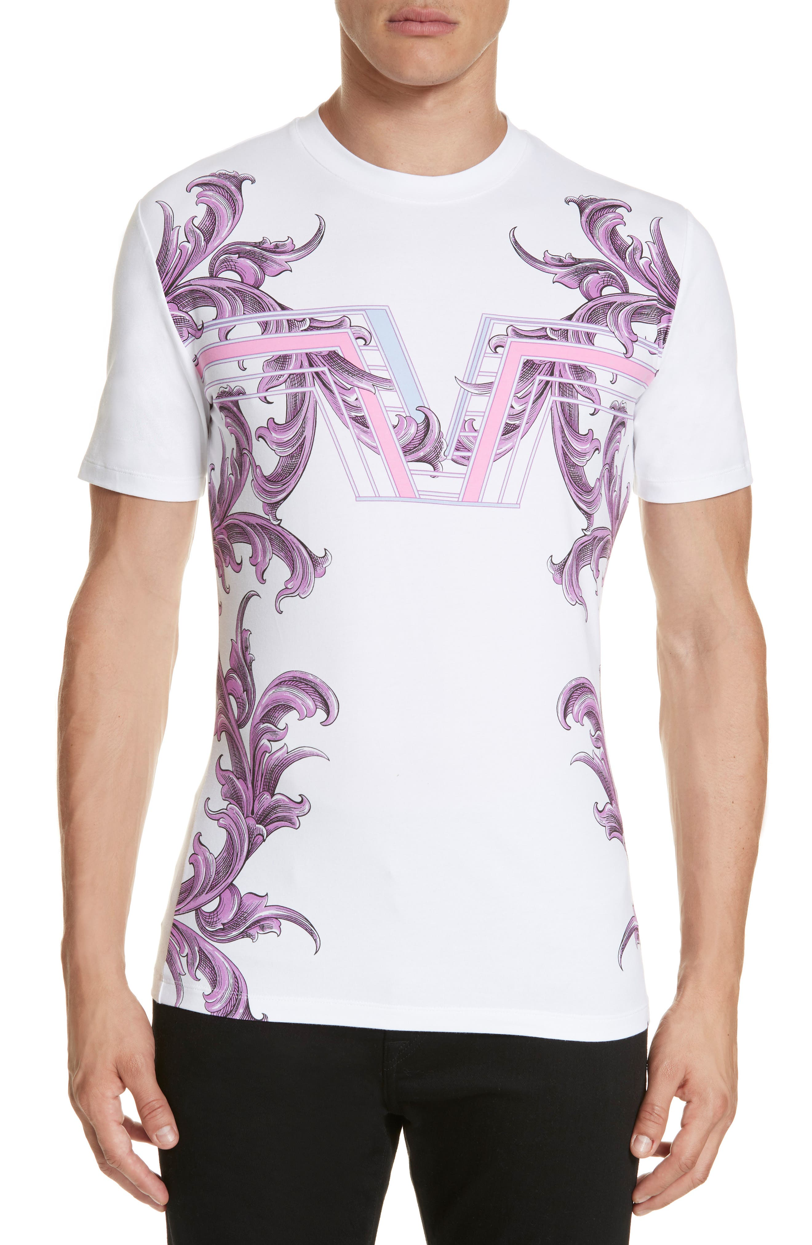 VERSACE COLLECTION, Filigree Print T-Shirt, Main thumbnail 1, color, 100