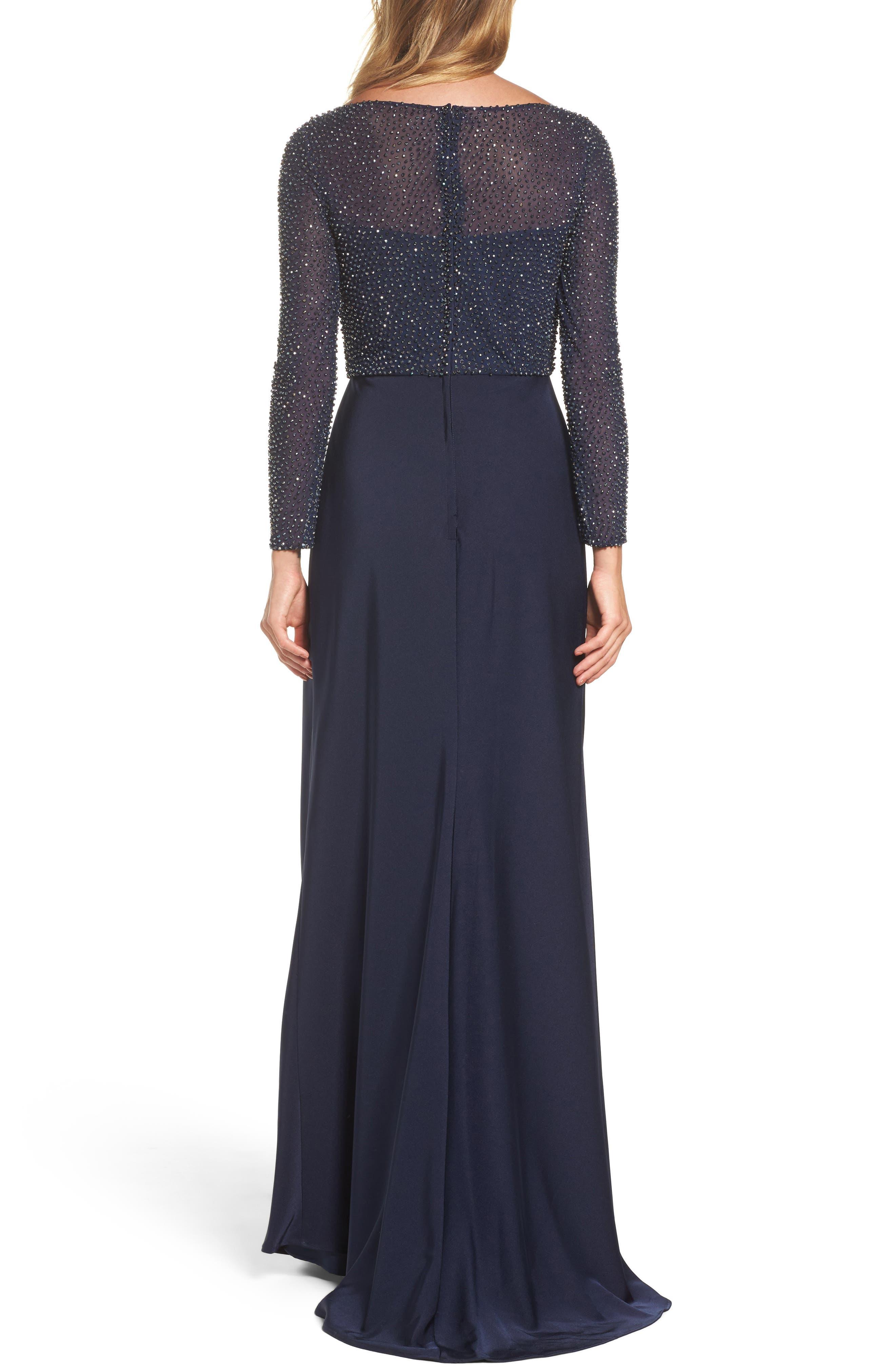 LA FEMME, Bead Embellished Gown, Alternate thumbnail 2, color, NAVY