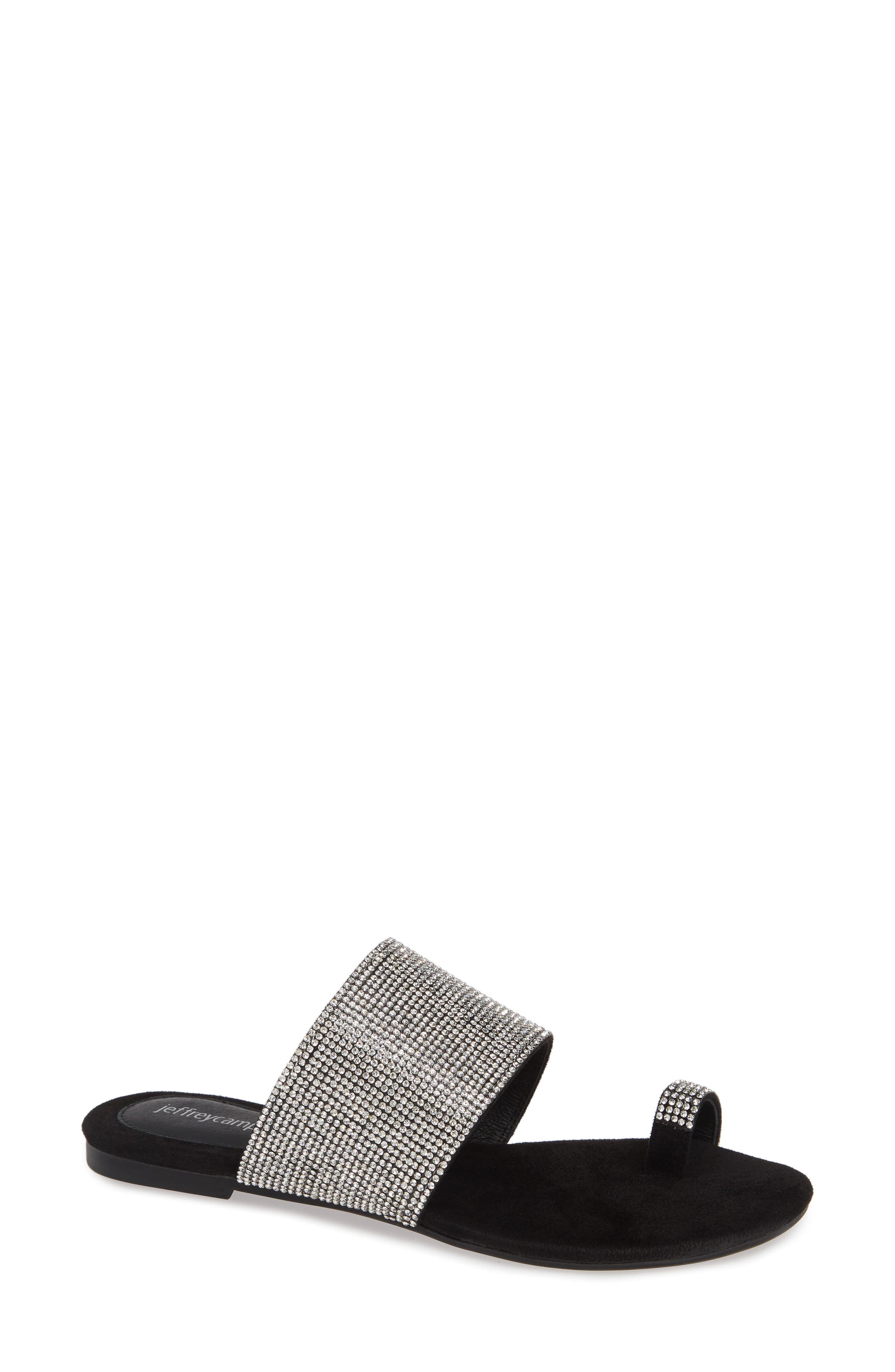 JEFFREY CAMPBELL Jemma Slide Sandal, Main, color, BLACK/ SILVER LEATHER
