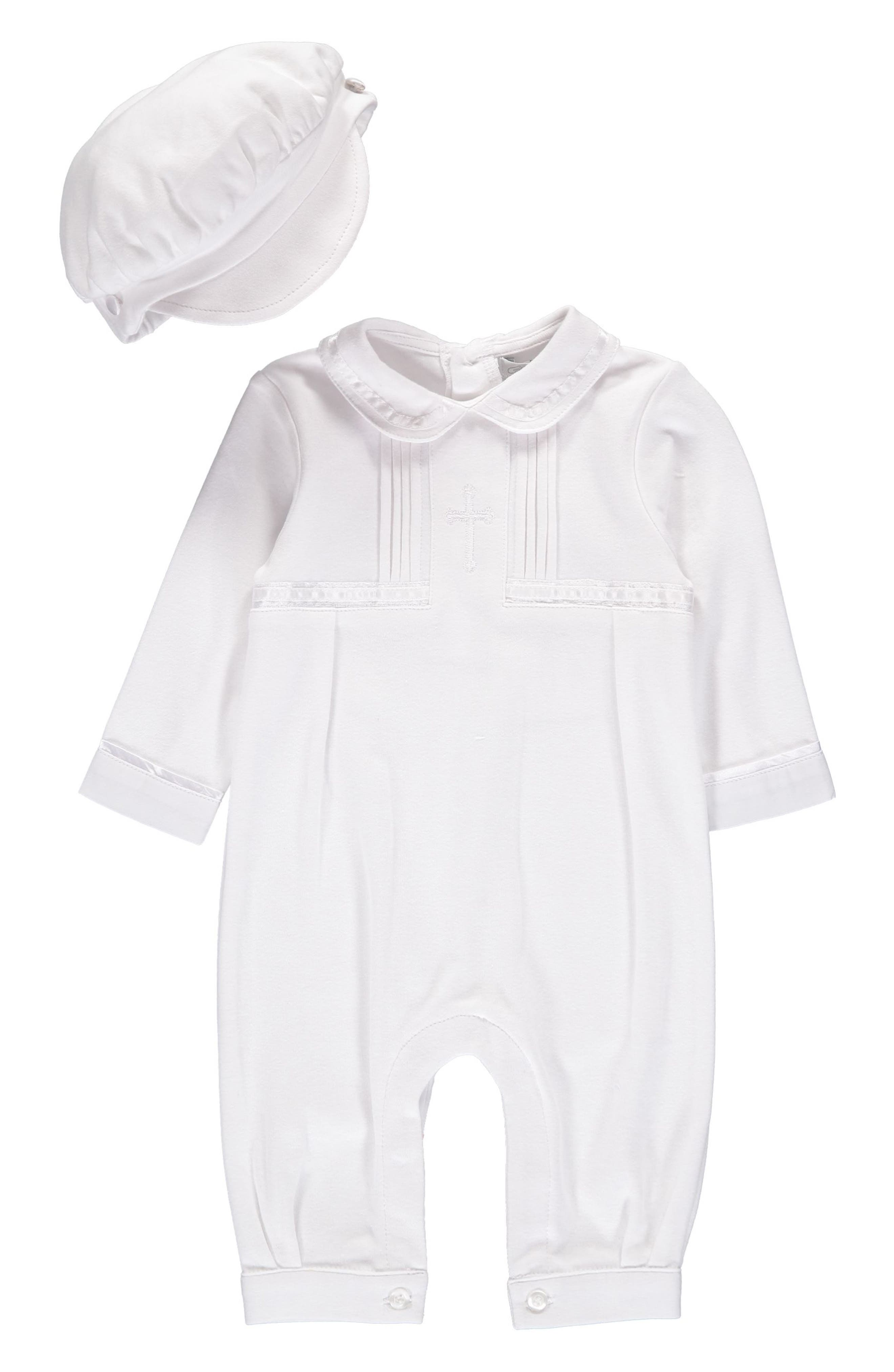 CARRIAGE BOUTIQUE Cross Embroidered Christening Romper & Newsboy Cap Set, Main, color, 100