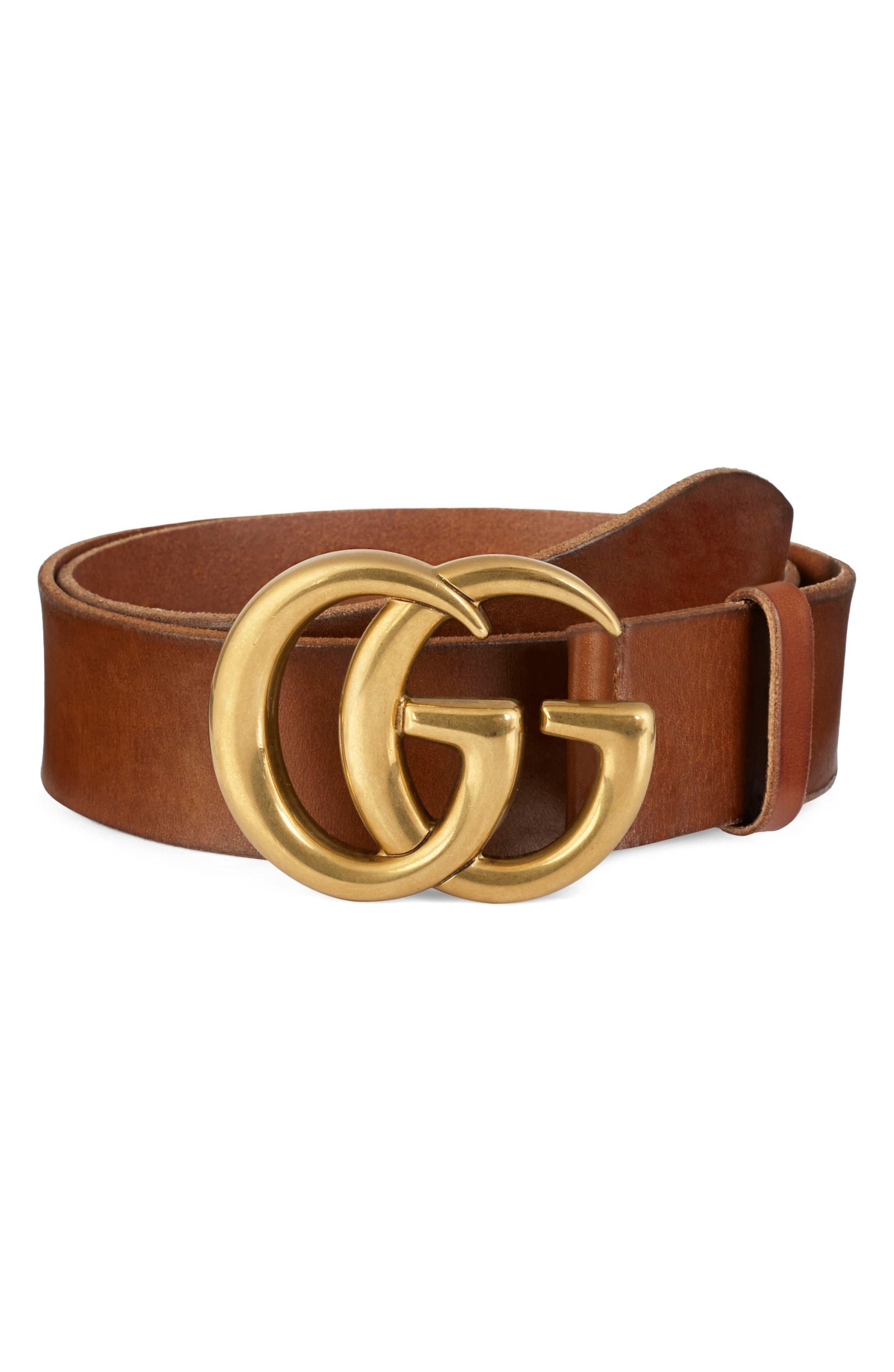 GUCCI, Running Gold Leather Belt, Main thumbnail 1, color, BROWN