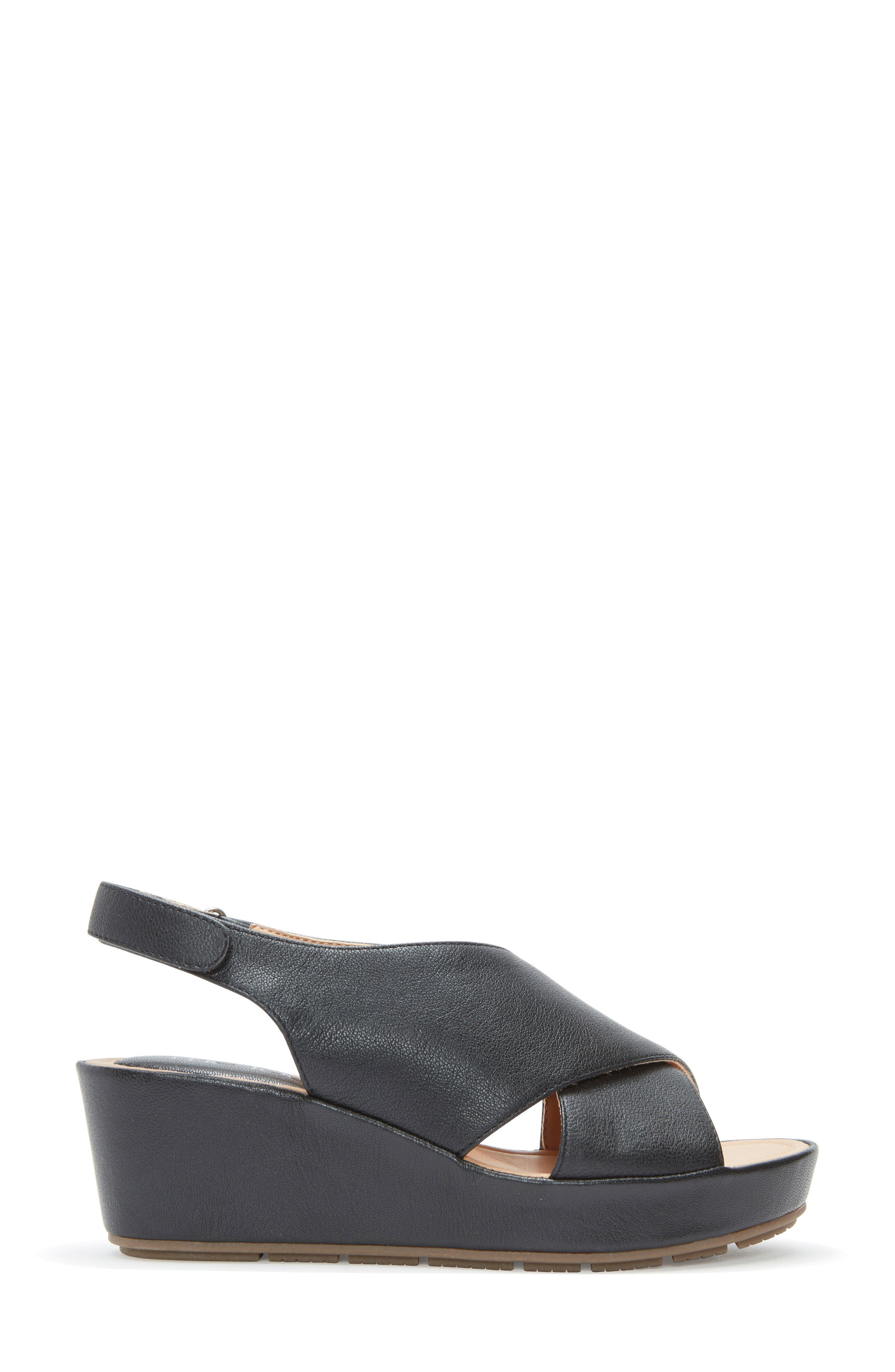 ME TOO, Arena Wedge Sandal, Alternate thumbnail 3, color, BLACK LEATHER