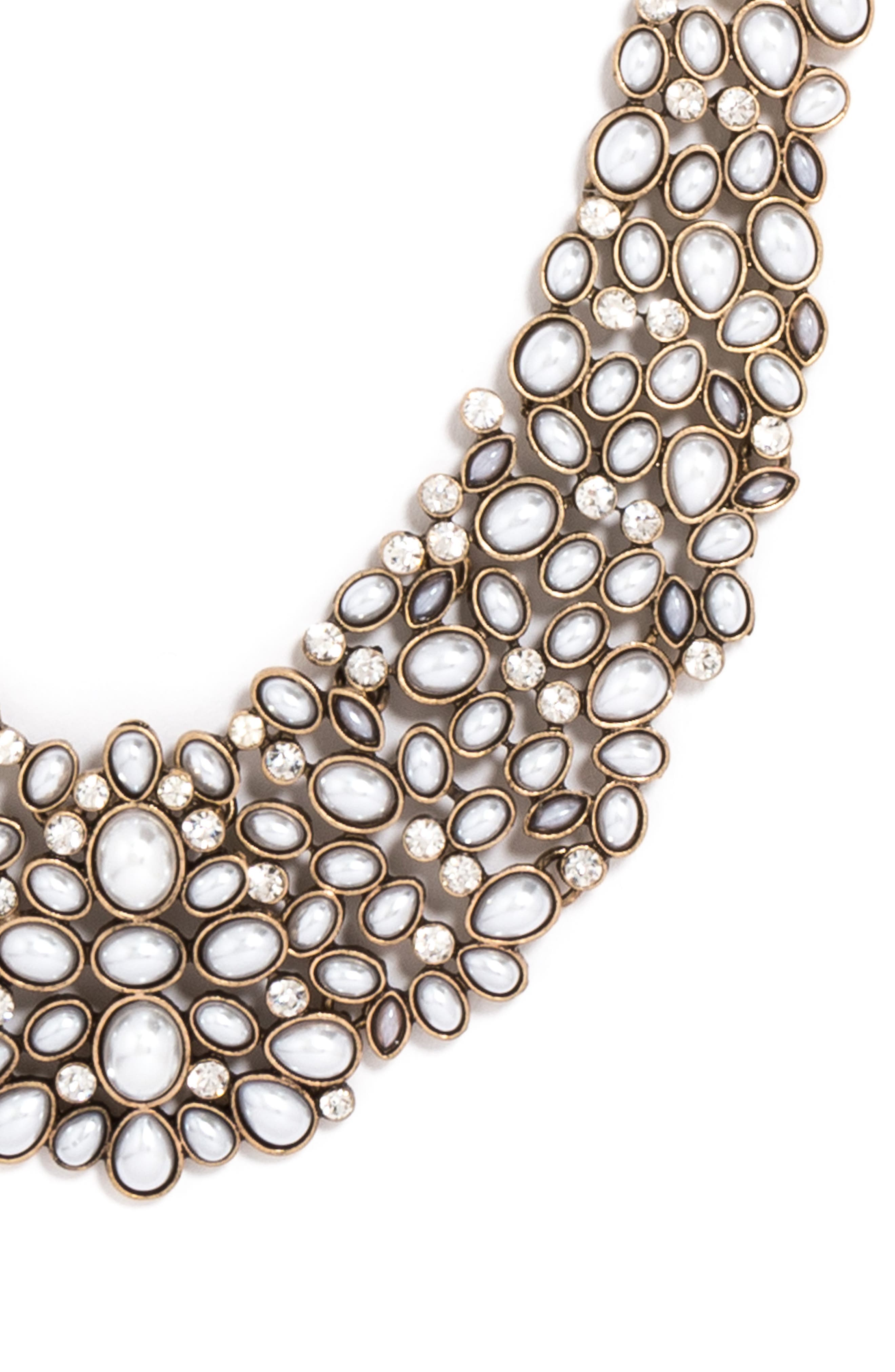 BAUBLEBAR, 'Kew' Crystal Collar Necklace, Alternate thumbnail 3, color, PEARL/ GOLD