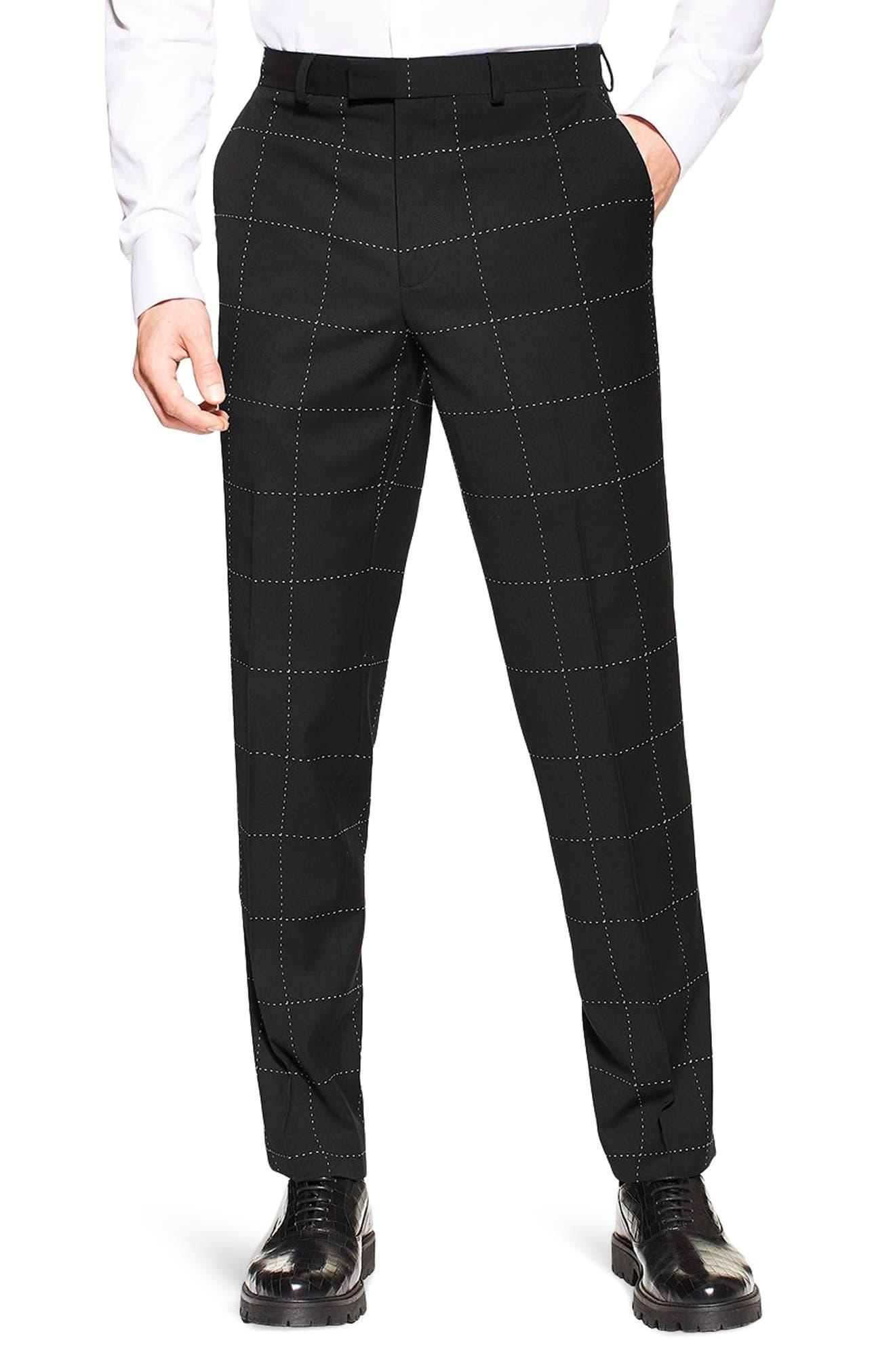 TOPMAN, Slim Fit Topstitched Suit Trousers, Main thumbnail 1, color, BLACK MULTI