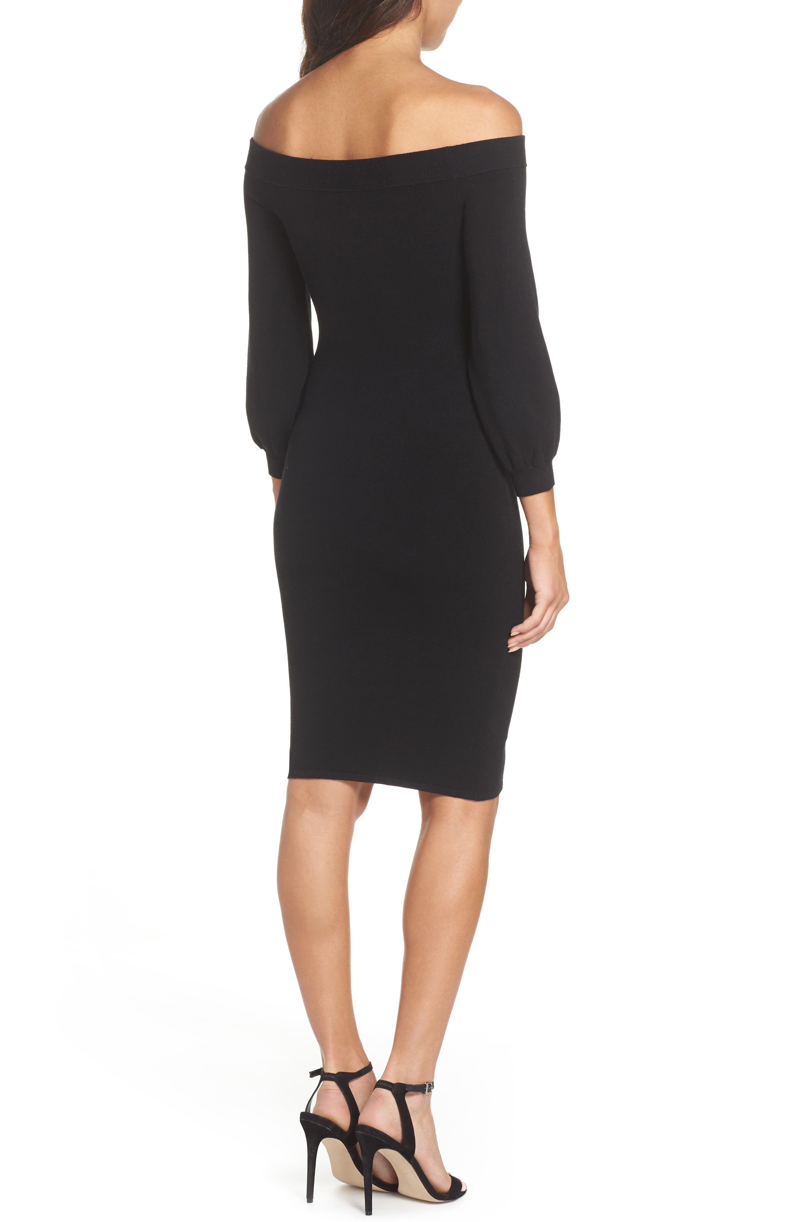ALI & JAY, Standing Strong Off the Shoulder Midi Sweater Dress, Alternate thumbnail 2, color, 001