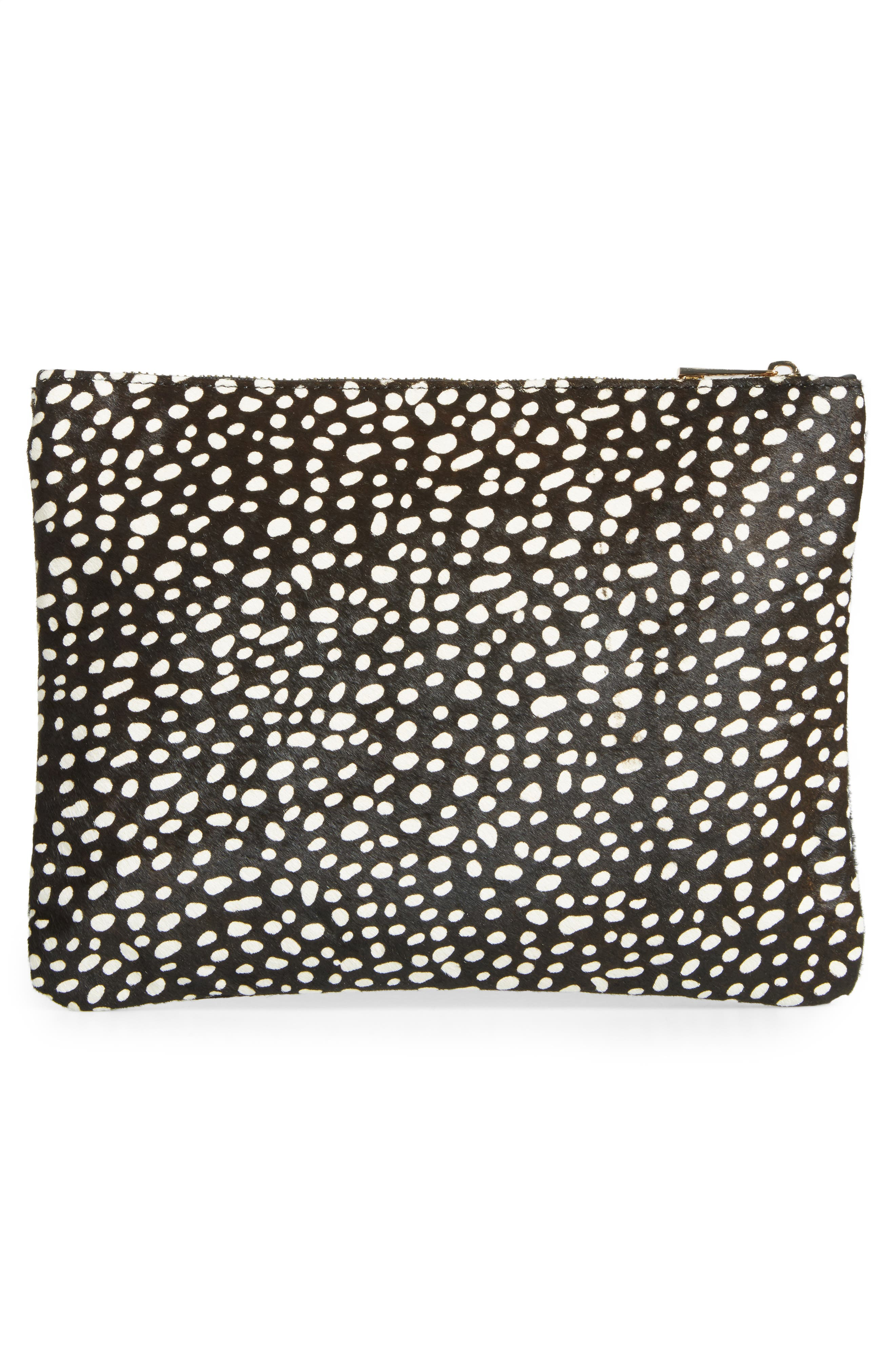 SOLE SOCIETY, 'Dolce' Genuine Calf Hair Clutch, Alternate thumbnail 3, color, 001