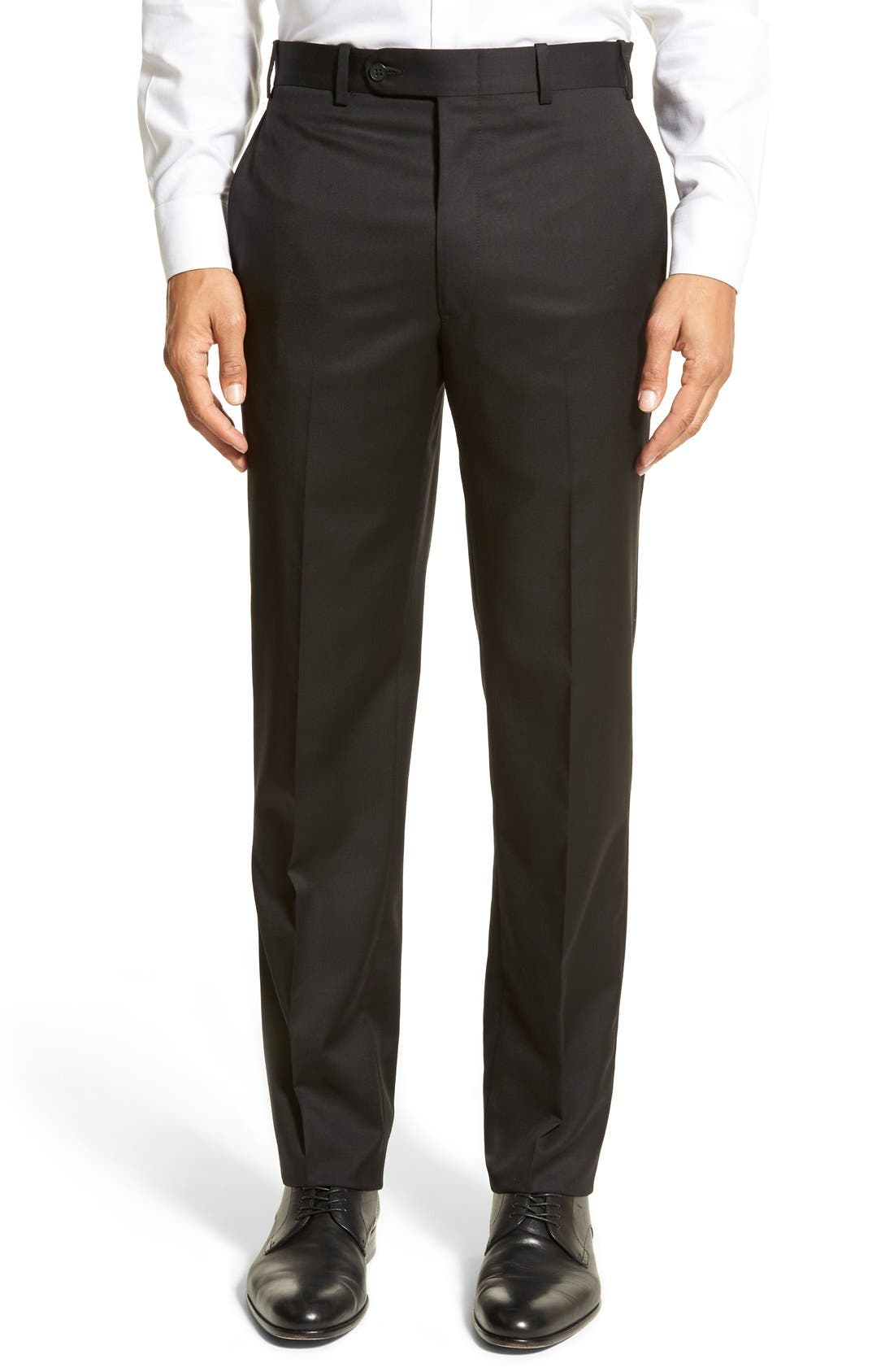 DI MILANO UOMO, 'Torino' Flat Front Solid Wool Trousers, Main thumbnail 1, color, 001