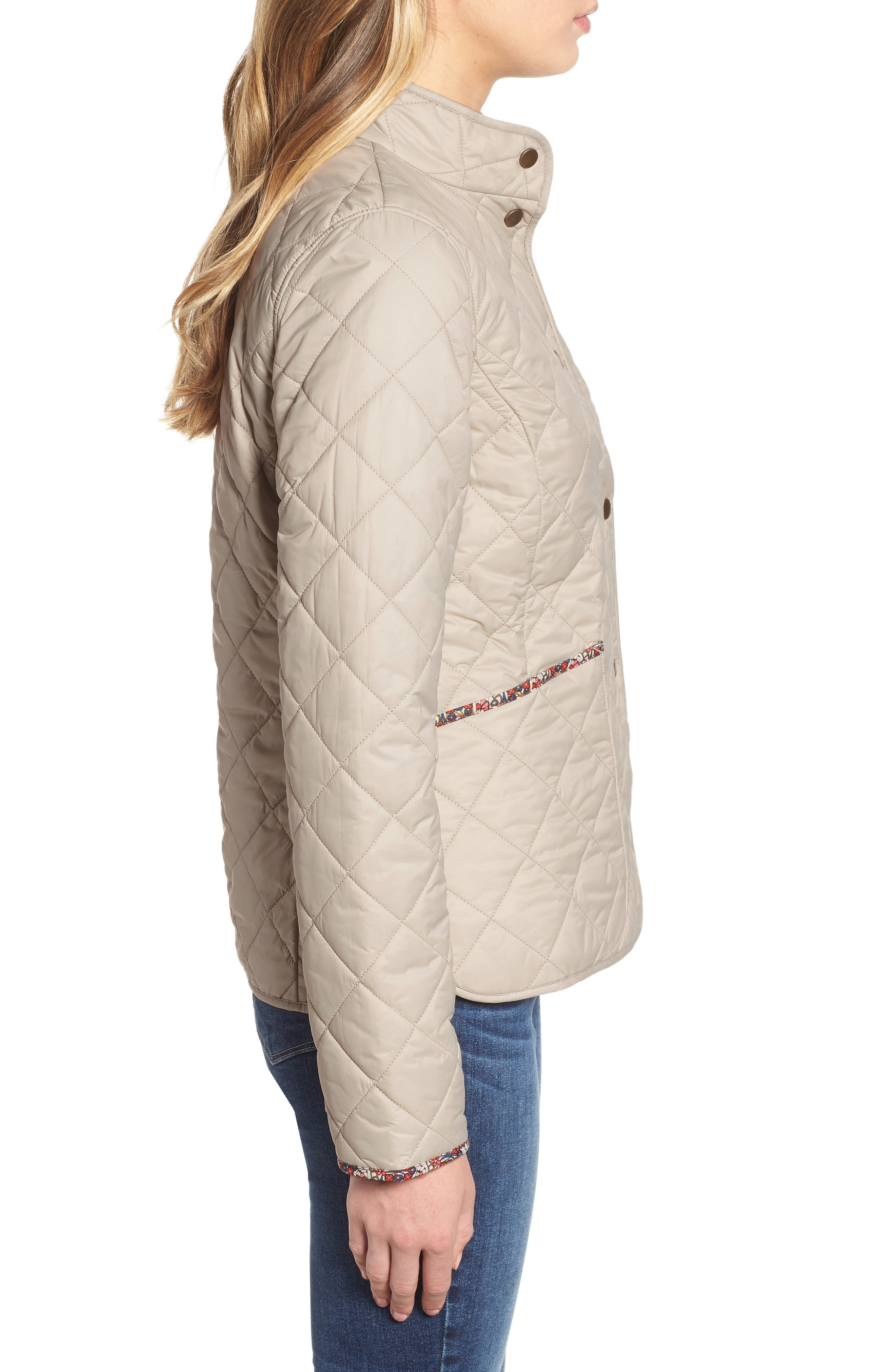 BARBOUR, x Liberty Evelyn Quilted Jacket, Alternate thumbnail 4, color, MIST/ MORRIS BUTTERFLY