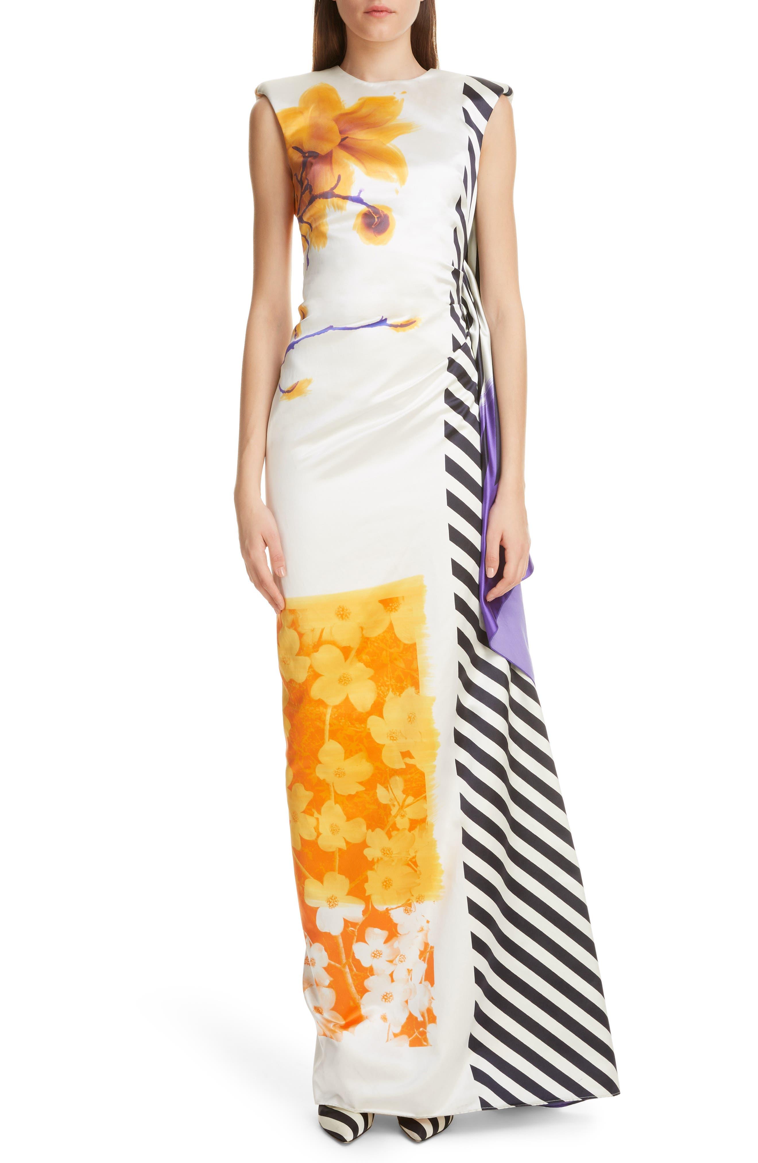 DRIES VAN NOTEN, Hand Painted Floral Evening Dress, Main thumbnail 1, color, 100