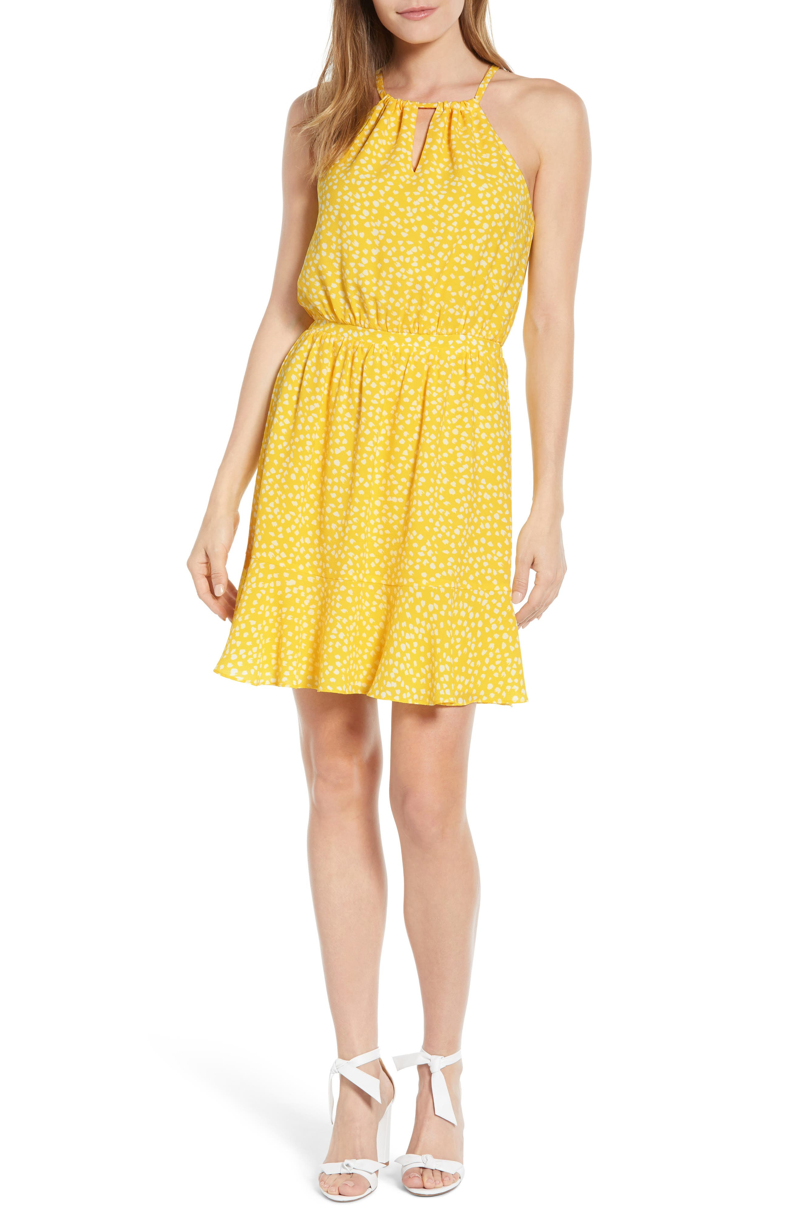 Petite Gibson X Living In Yellow Calla Keyhole Halter Neck Dress, Yellow