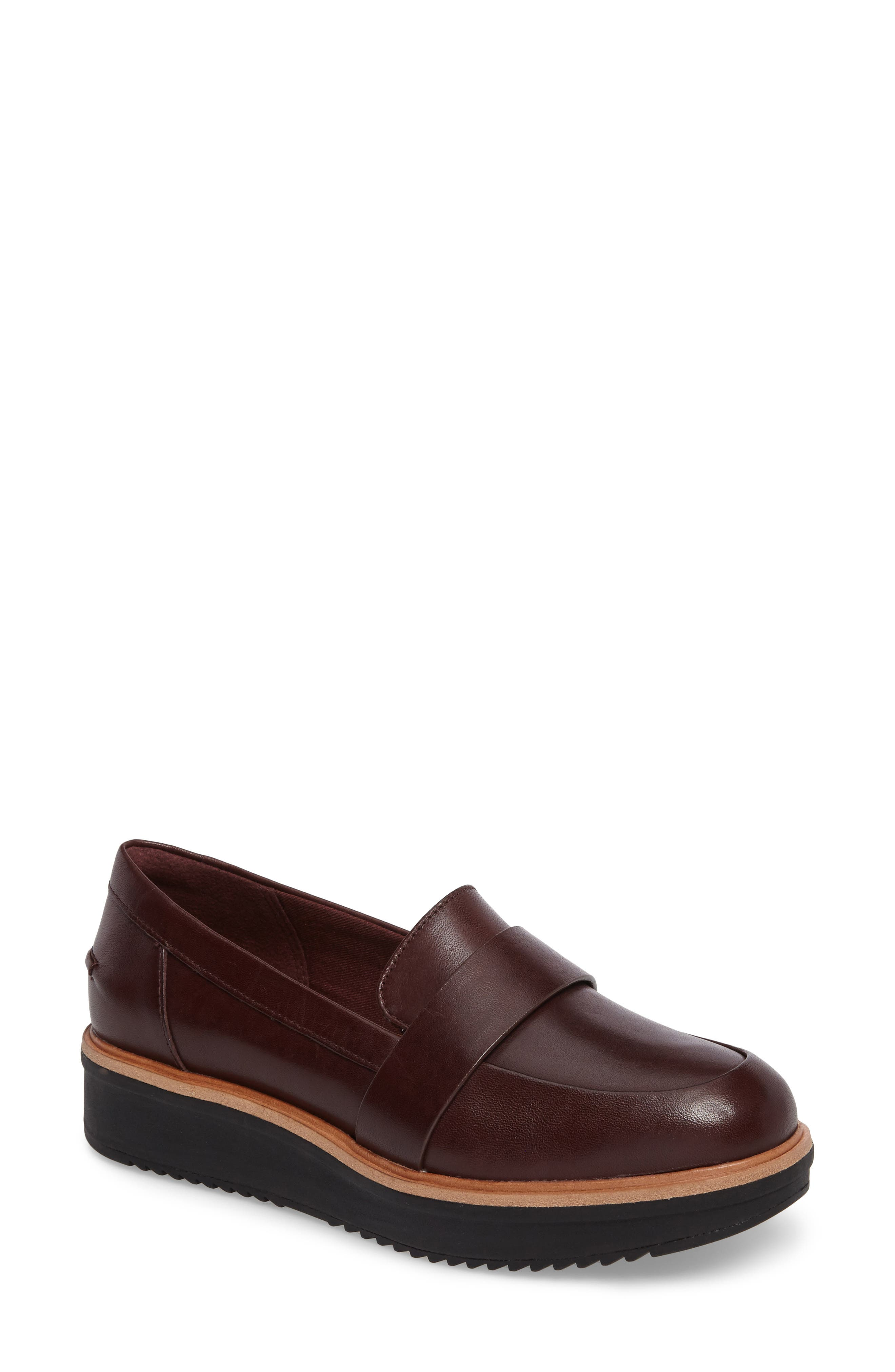 CLARKS<SUP>®</SUP>, Teadale Elsa Loafer, Main thumbnail 1, color, BURGUNDY LEATHER