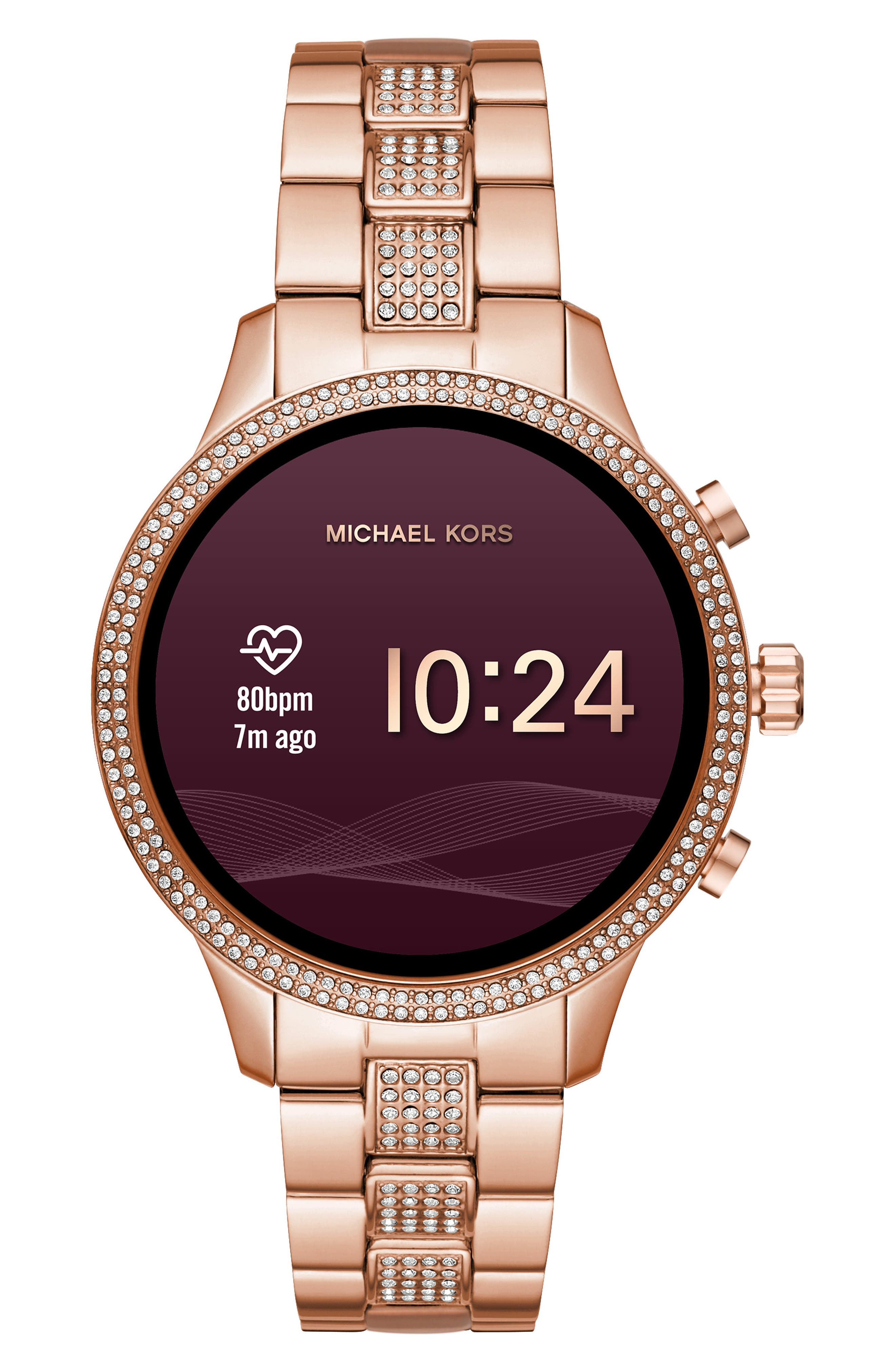 MICHAEL KORS, MICHAEL Michael Kors Access Runway Smart Bracelet Watch, 41mm, Alternate thumbnail 5, color, ROSE GOLD