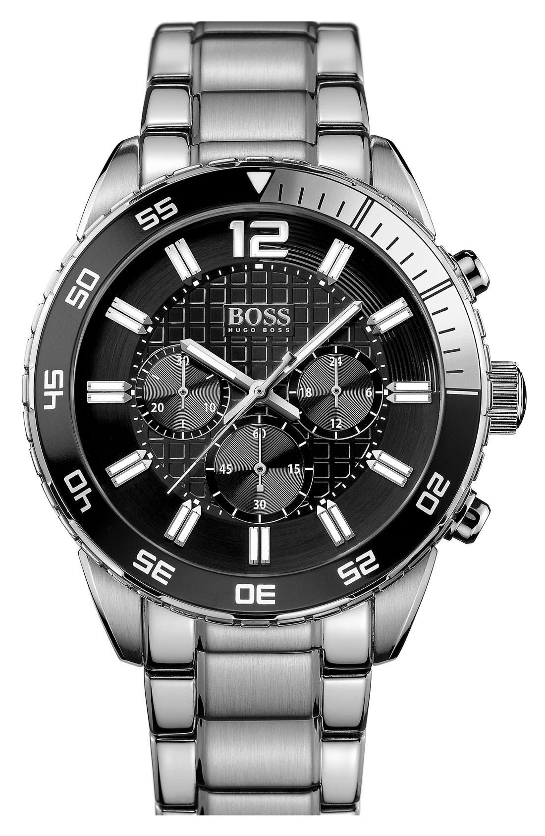 BOSS, 'Iconic' Chronograph Bracelet Watch, 44mm, Main thumbnail 1, color, 040