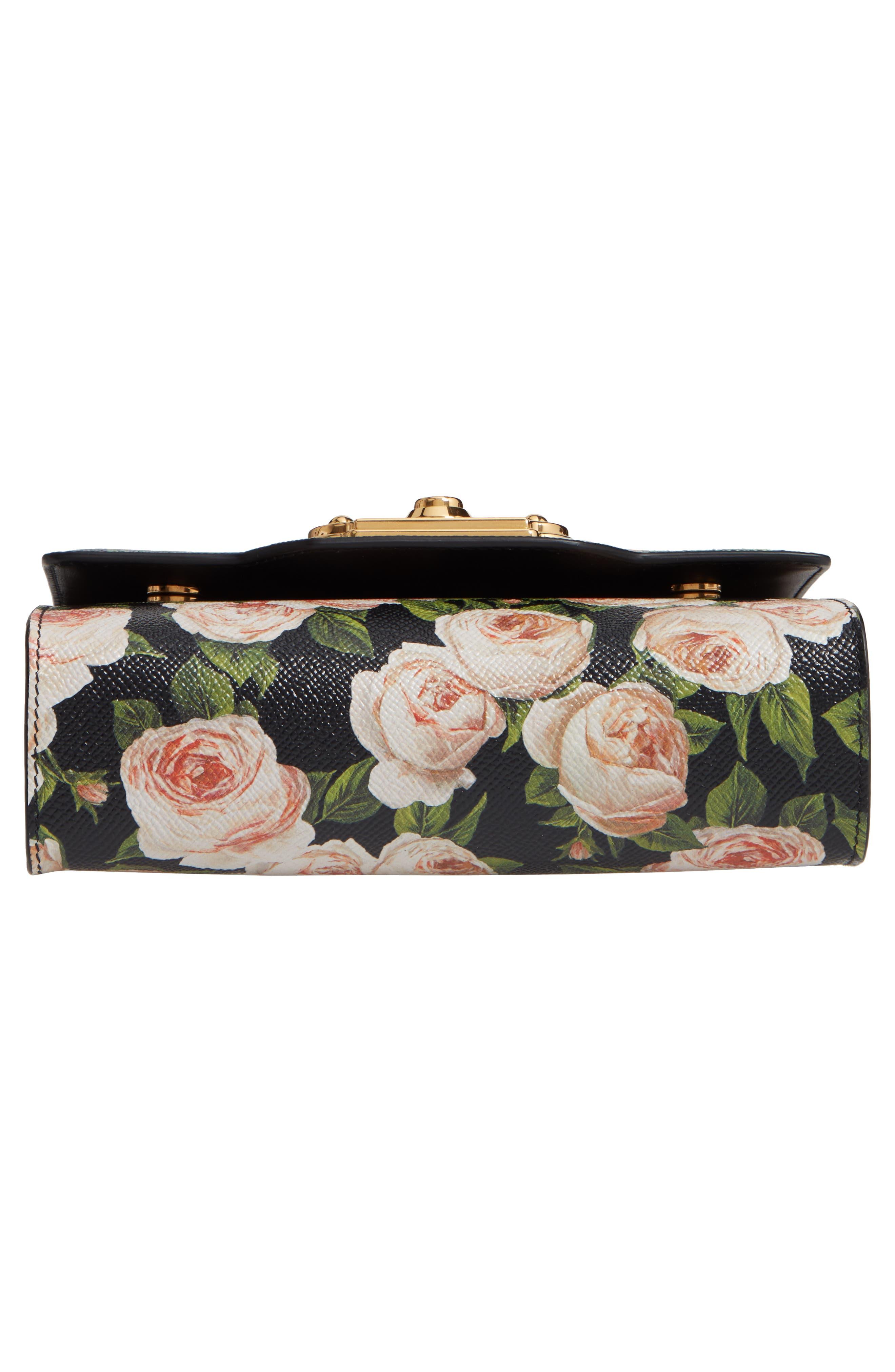 DOLCE&GABBANA, Rose Print Calfskin Leather Shoulder Bag, Alternate thumbnail 6, color, NERO/ ROSE