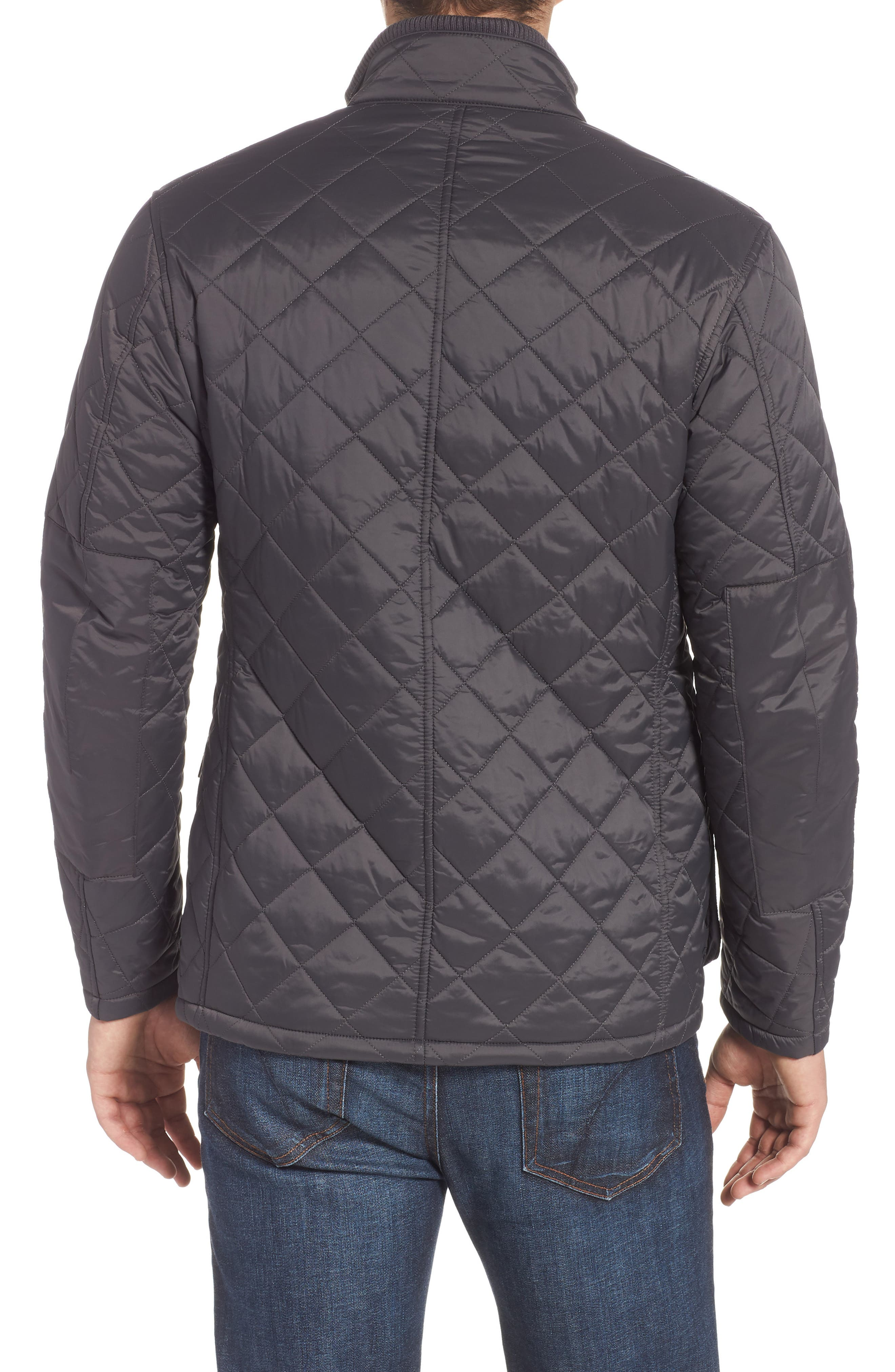 BARBOUR, International Windshield Quilted Jacket, Alternate thumbnail 2, color, CHARCOAL