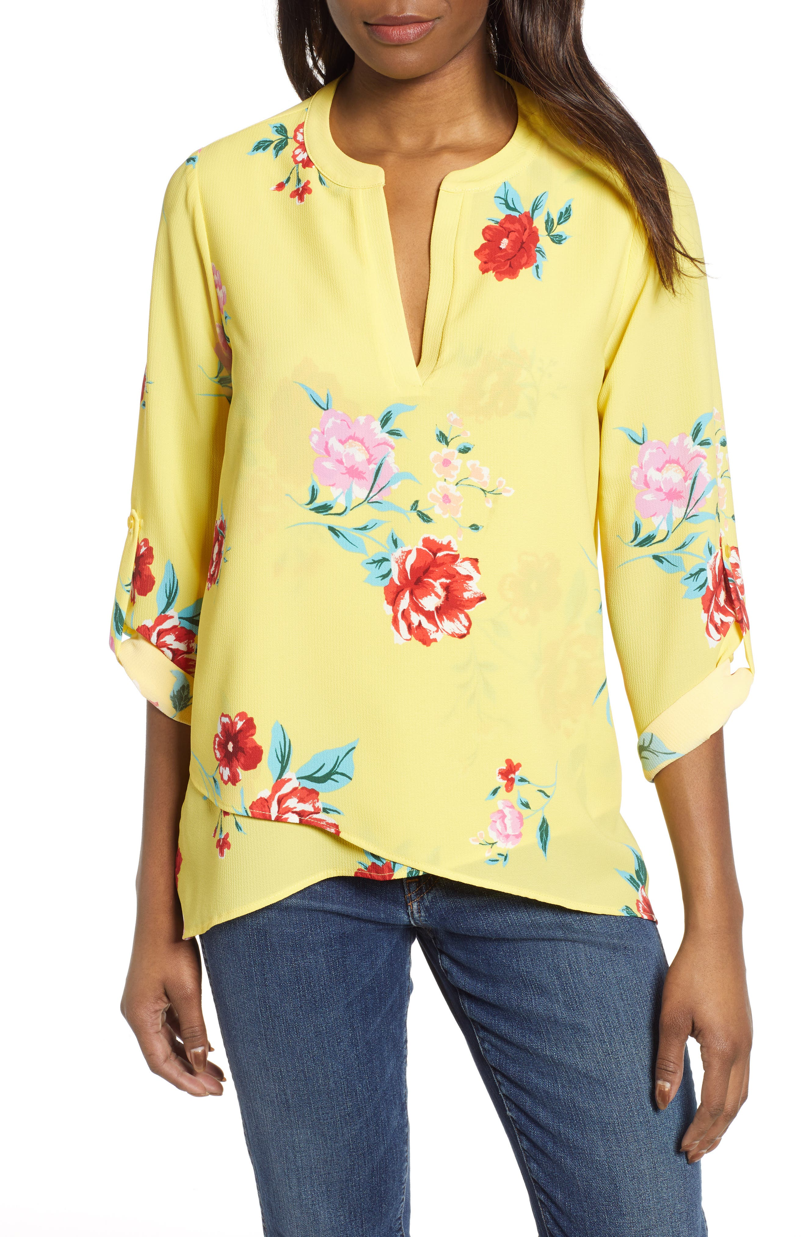GIBSON, x International Women's Day Erin Cross Front Tunic Blouse, Main thumbnail 1, color, VIRGINIA BLOOM
