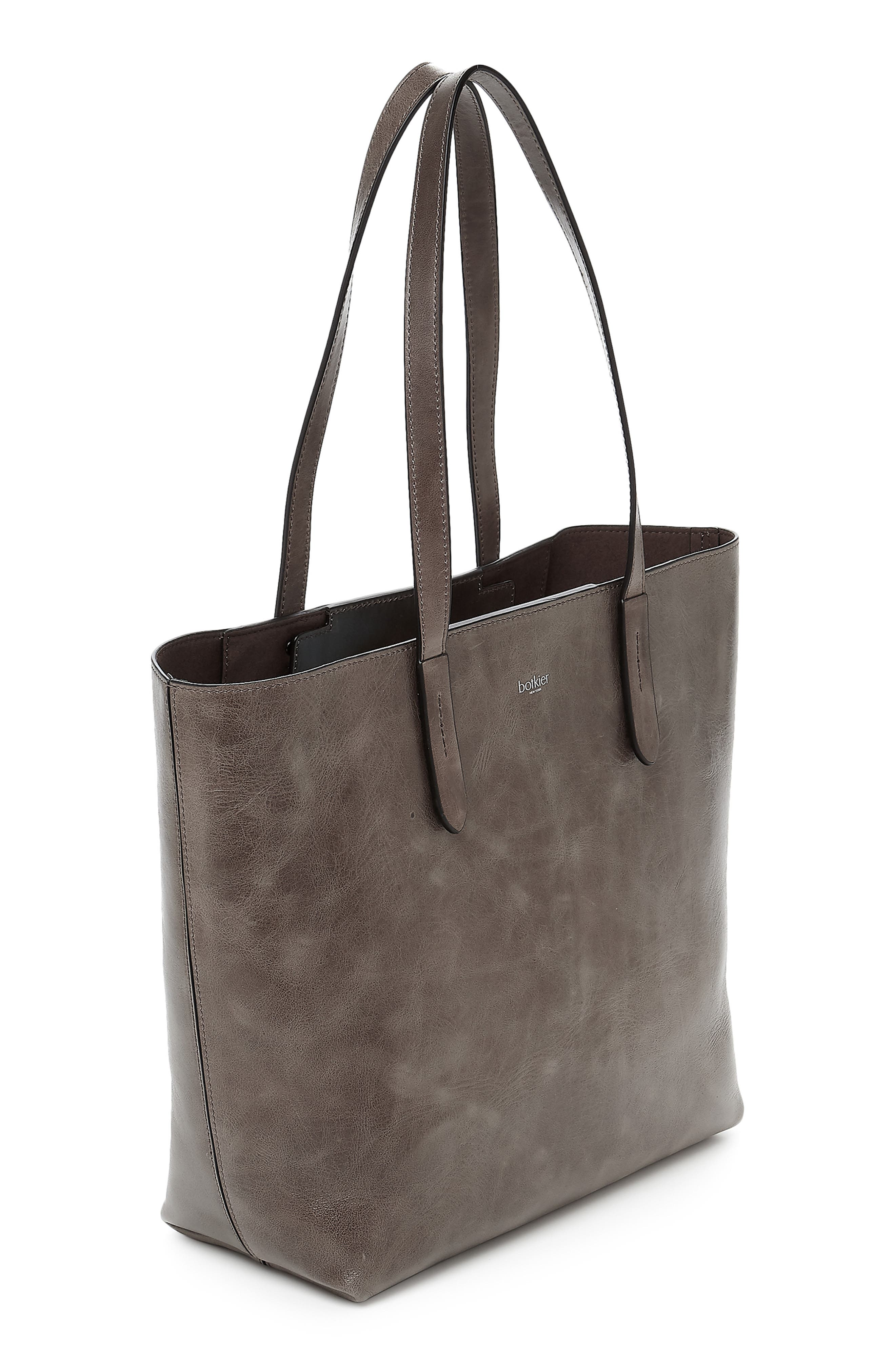 BOTKIER, Highline Leather Tote, Alternate thumbnail 4, color, WINTER GREY