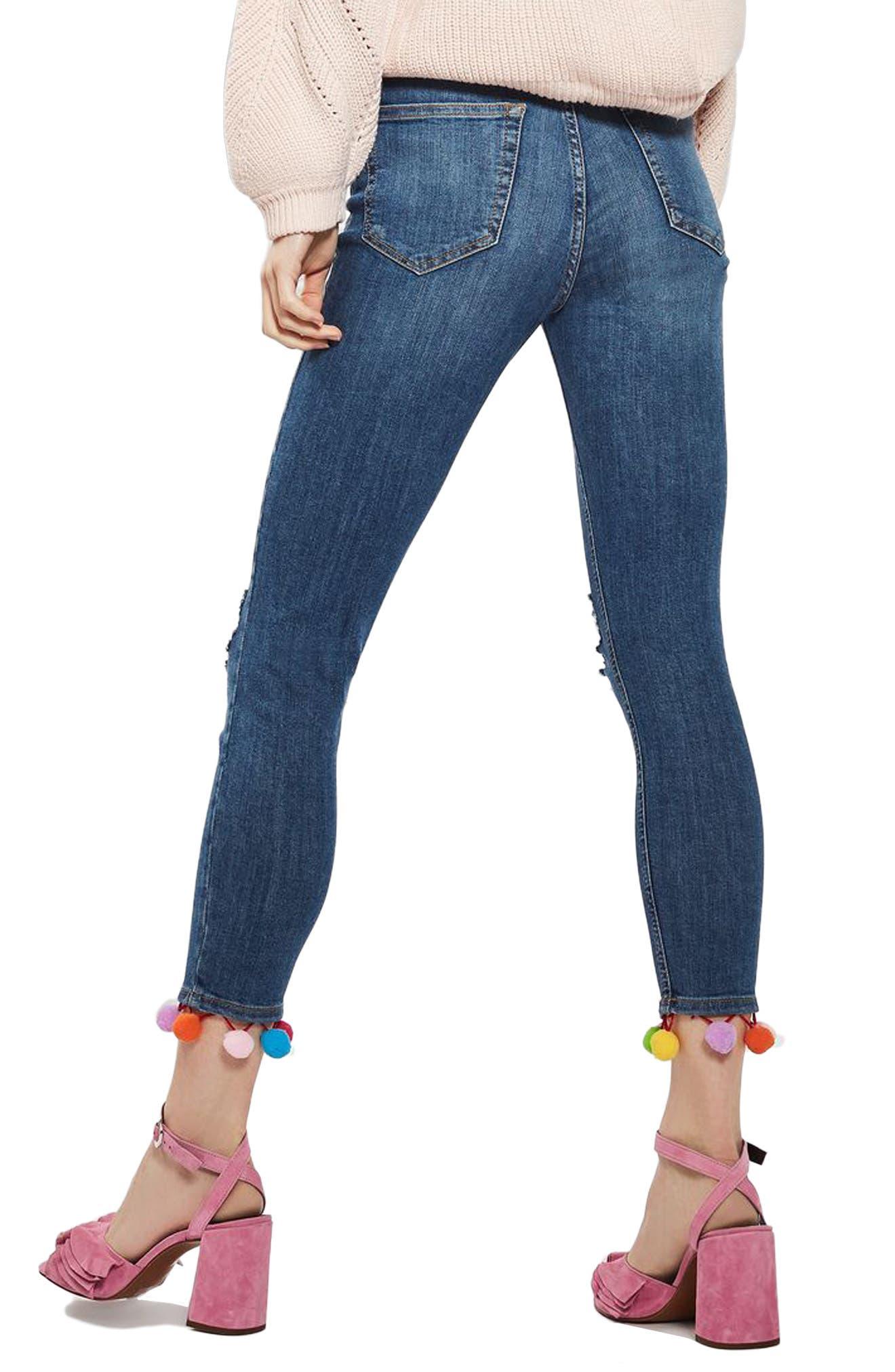 TOPSHOP, Jamie Pompom Skinny Jeans, Alternate thumbnail 2, color, 400