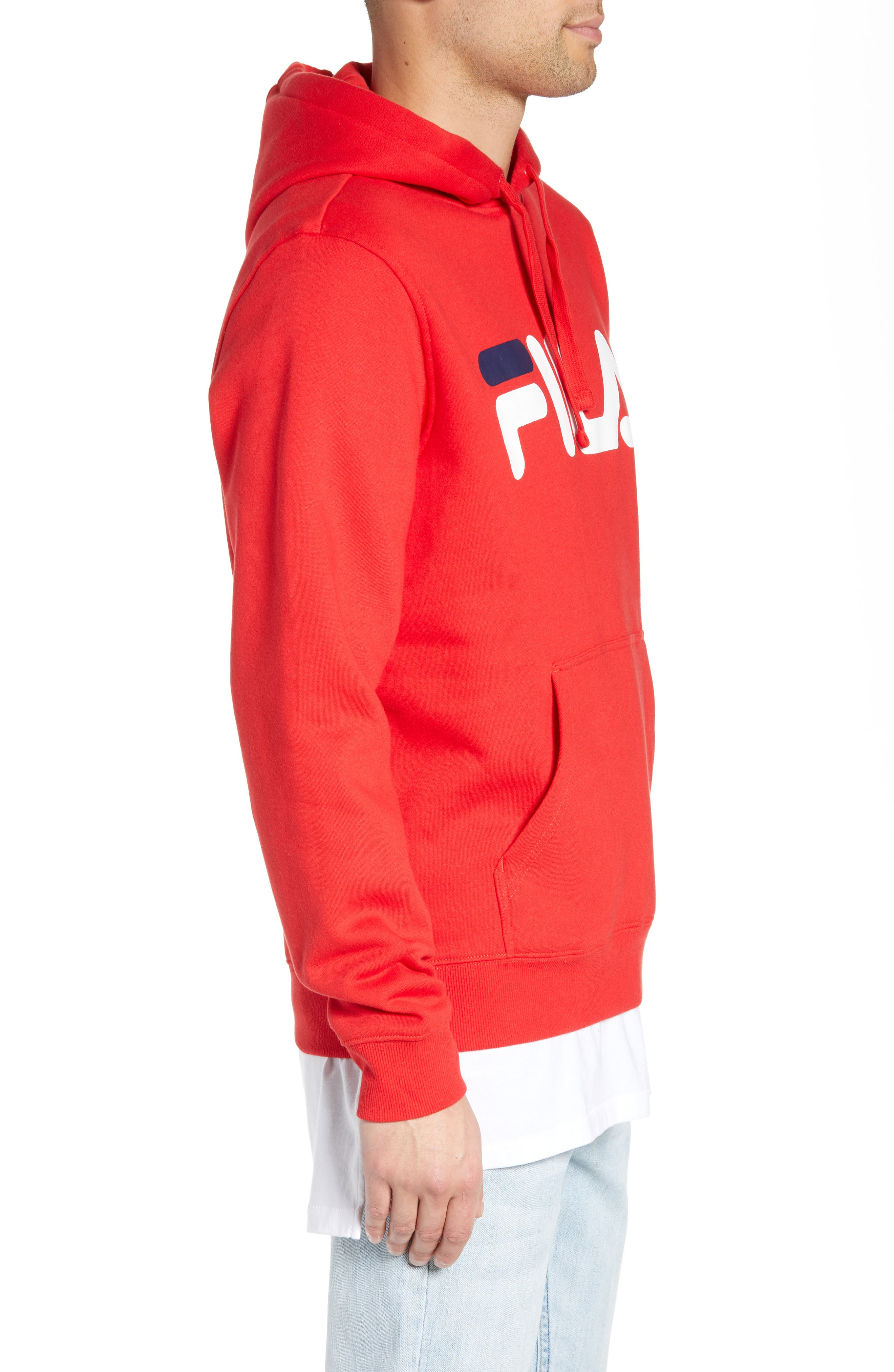 FILA, Logo Graphic Hooded Sweatshirt, Alternate thumbnail 3, color, CHINESE RED/ WHITE/ NAVY