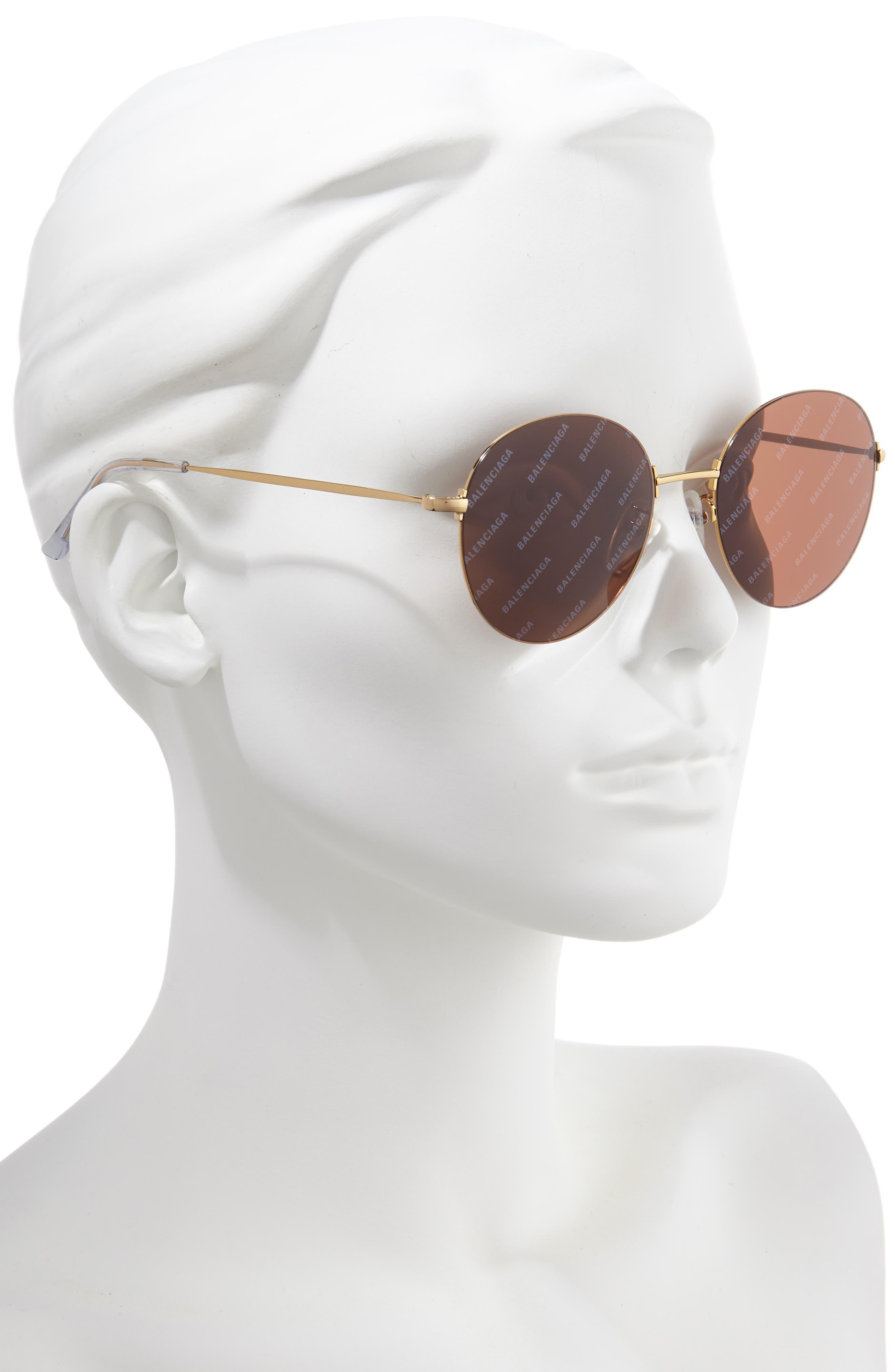 BALENCIAGA, 55mm Round Sunglasses, Alternate thumbnail 2, color, SHINY ENDURA GOLD/ BROWN