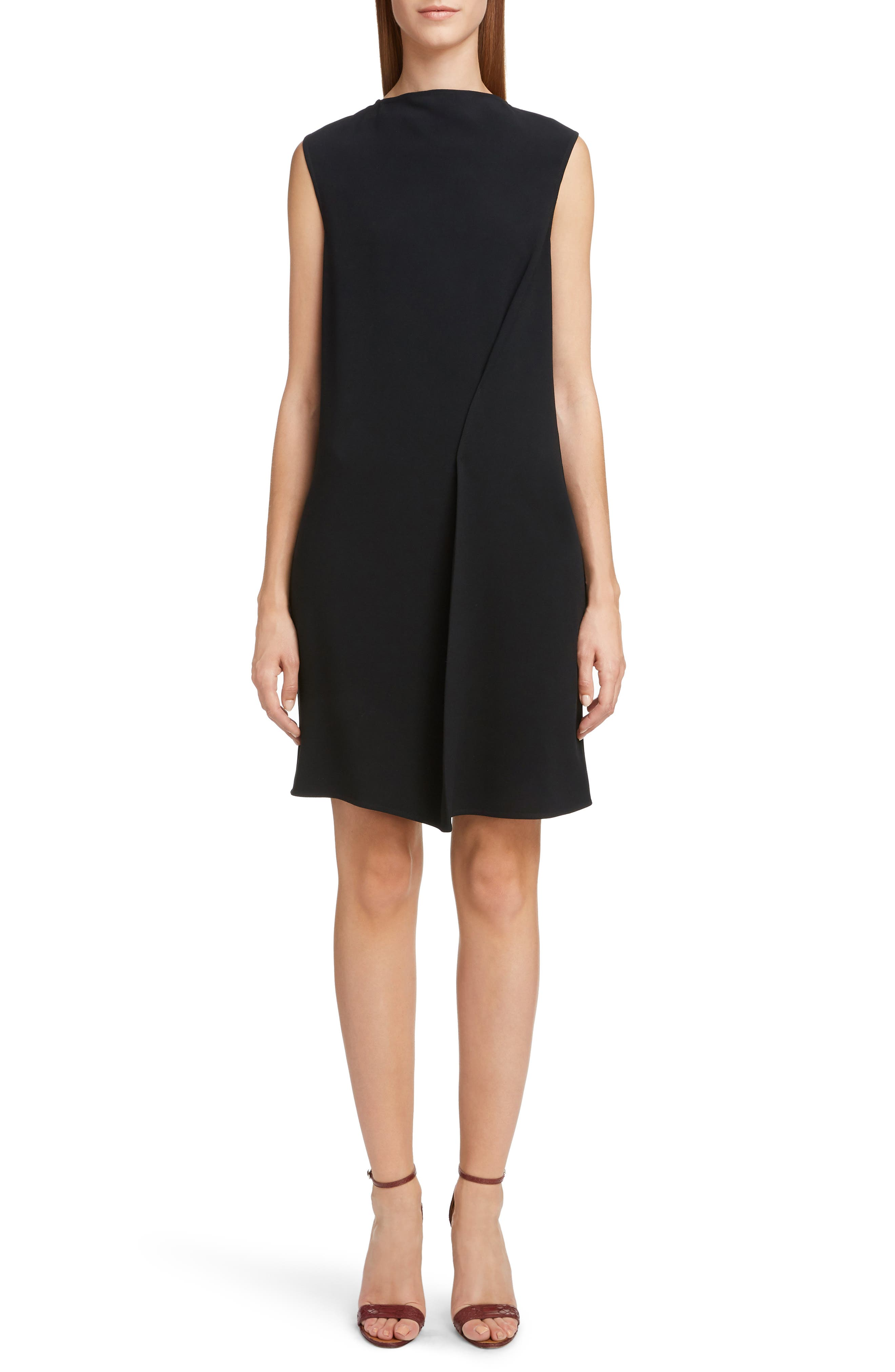 VICTORIA BECKHAM, Asymmetrical Pleat Shift Dress, Main thumbnail 1, color, BLACK